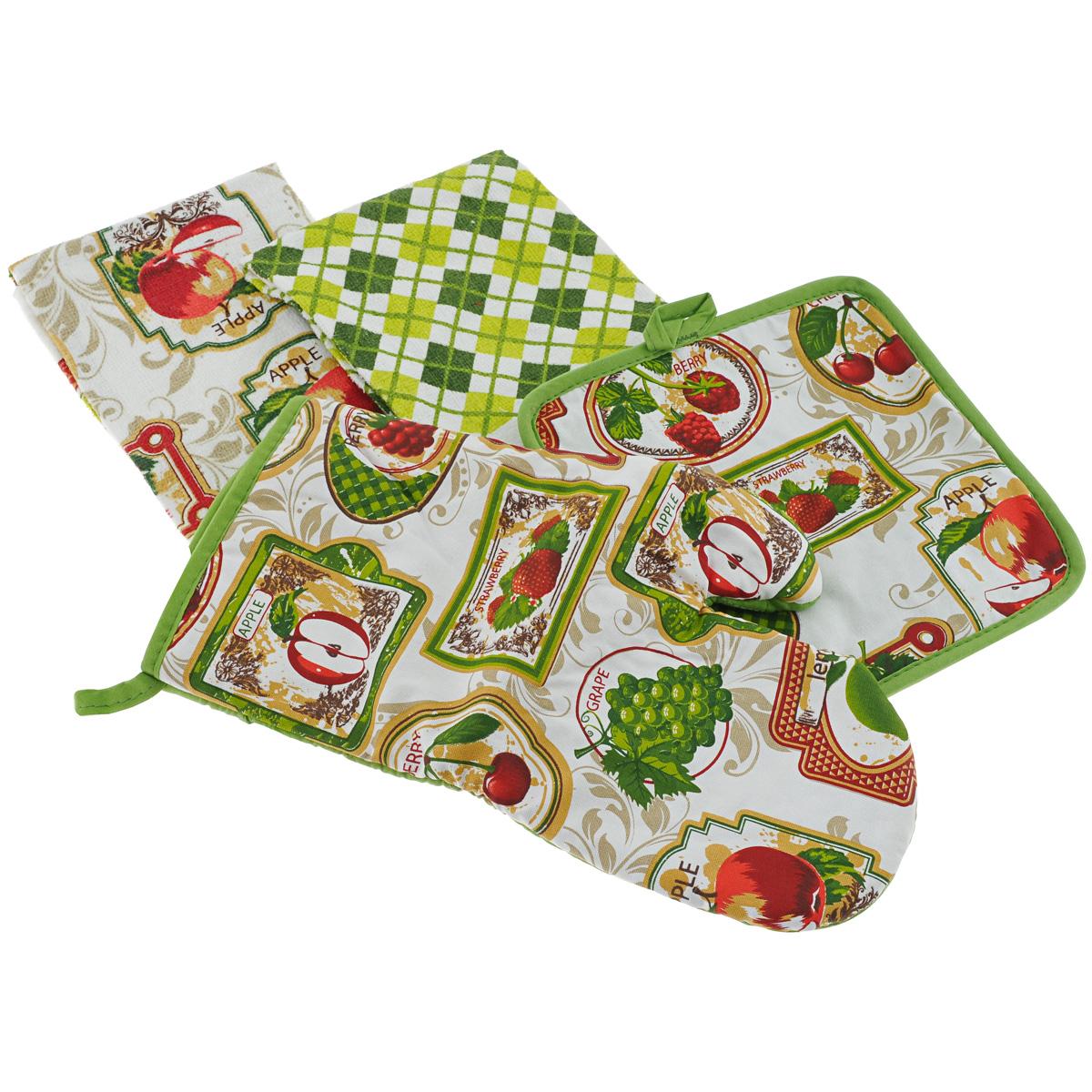 Набор для кухни Primavelle Фрукты, 4 предмета45932460-a21Набор для кухни Primavelle Фрукты состоит из квадратной прихватки, варежки-прихватки и двух кухонных полотенец. Предметы набора изготовлены из натурального хлопка и оформлены ярким изображением фруктов. Махровые полотенца подарят вам мягкость и необыкновенный комфорт в использовании. Они идеально впитывают влагу и сохраняют свою необычайную мягкость даже после многих стирок. Одно из полотенец оформлено принтом в клетку, а другое - изображением фруктов. Прихватки снабжены петелькой для удобного подвешивания на крючок, они защитят ваши руки от воздействия горячих температур и обеспечат комфорт во время приготовления пищи. Кроме того, комплект имеет яркий красочный дизайн, он украсит ваш интерьер и станет прекрасным подарком. Размер полотенец: 38 см х 64 см. Размер прихватки: 20 см х 20 см. Размер варежки-прихватки: 18 см х 33 см.