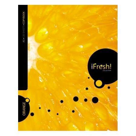 Тетрадь с твердой обложкой 120л А5ф 4 х цв. блок клетка на гребне iFRESH апельсин120Тт5B1гр_10623