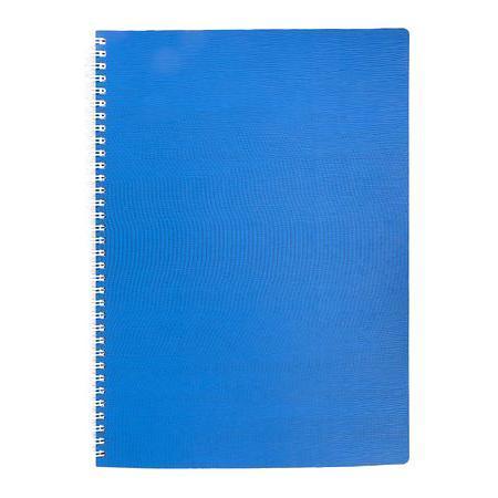 Тетрадь 80л А4ф Пластиковая обложка на гребне WOOD Голубая80Т4B1гр_02225