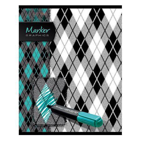 Тетрадь 96л А5ф клетка на скобе выб лак серия Marker96Т5вмB1Тетрадь с обложкой из картона, защищающей бумагу от деформации.