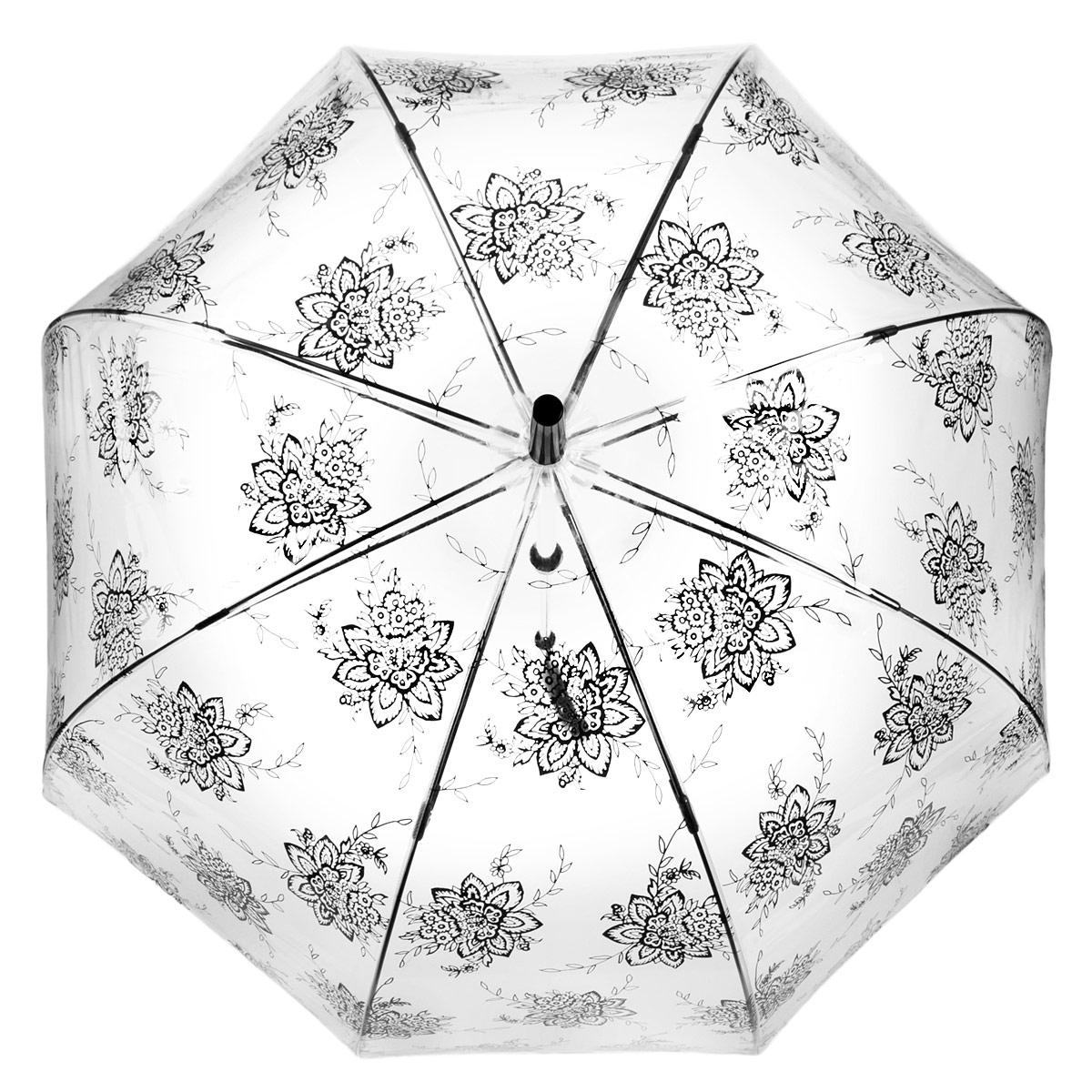 Зонт-трость женский Fulton Birdcage-2. Flora, механический, цвет: прозрачный, черный. L042-2838L042-2838Модный механический зонт-трость Birdcage-2. Birdcage. Flora. Каркас зонта состоит из 8 спиц фибергласса и пластикового стержня. Купол зонта выполнен из прочного ПВХ и оформлен цветочным узором. Изделие оснащено удобной рукояткой из пластика. Зонт механического сложения: купол открывается и закрывается вручную до характерного щелчка. Модель закрывается при помощи одного ремня с кнопкой. Зонт-трость даже в ненастную погоду позволит вам оставаться стильной и элегантной. Такой зонт не только надежно защитит вас от дождя, но и станет стильным аксессуаром, который идеально подчеркнет ваш неповторимый образ.