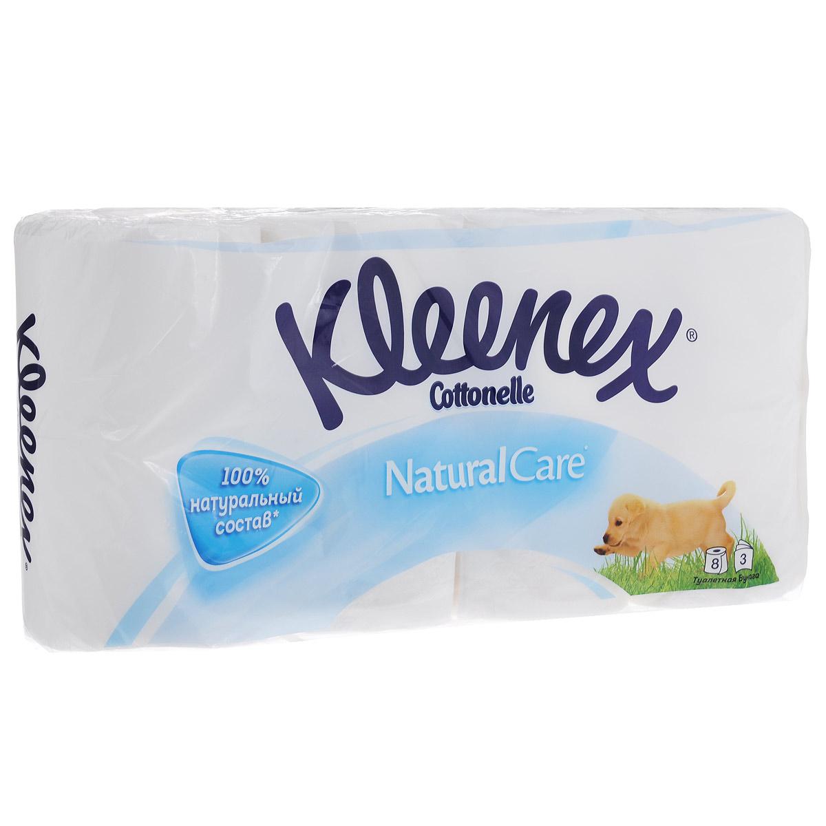Туалетная бумага Kleenex Natural Care, трехслойная, цвет: белый, 8 рулоновa026124Трехслойная туалетная бумага Kleenex Natural Care изготовлена из целлюлозы высшего качества. Мягкая, нежная, но в тоже время прочная, бумага не расслаивается и отрывается строго по линии перфорации. Оформлена тиснением.Туалетная бумага Kleenex Natural Care идеально подходит для ежедневного использования. Без ароматизаторов. Количество листов в рулоне: 155 шт. Количество слоев: 3. Размер листа: 9,6 см х 11,2 см. Состав: 100% целлюлоза.