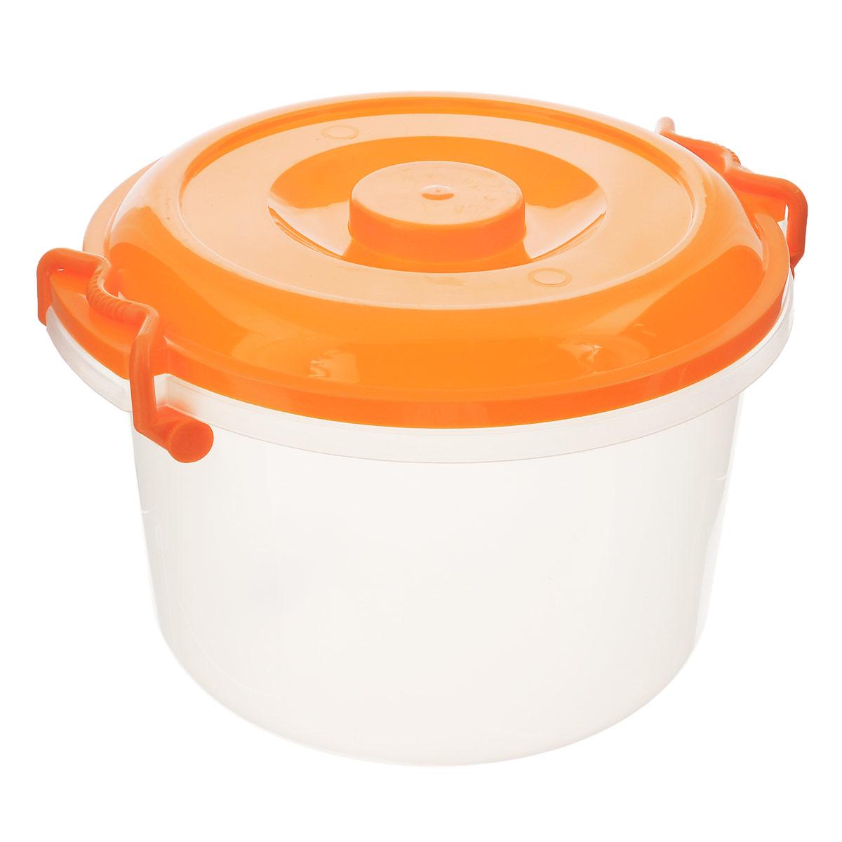 Контейнер Альтернатива, цвет: оранжевый, 7 лМ147Контейнер Альтернатива выполнен из прочного пластика, предназначен для хранения различных мелких вещей. Прозрачные стенки позволяют видеть содержимое. Контейнер плотно закрывается крышкой с двумя защелками. В таком контейнере ваши вещи будут защищены от пыли, грязи и влаги. Объем: 7 л. Внутренний диаметр контейнера: 25 см. Ширина контейнера с учетом ручек: 30 см. Высота контейнера: 19,5 см.