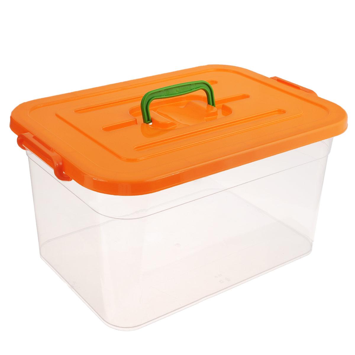 Контейнер для хранения Полимербыт, цвет: оранжевый, 15 л10503Контейнер для хранения Полимербыт выполнен из высококачественного пищевого пластика. Контейнер снабжен удобной ручкой и двумя пластиковыми фиксаторами по бокам, придающими дополнительную надежность закрывания крышки. Вместительный контейнер позволит сохранить различные нужные вещи в порядке, а герметичная крышка предотвратит случайное открывание, защитит содержимое от пыли и грязи. Объем: 15 л.