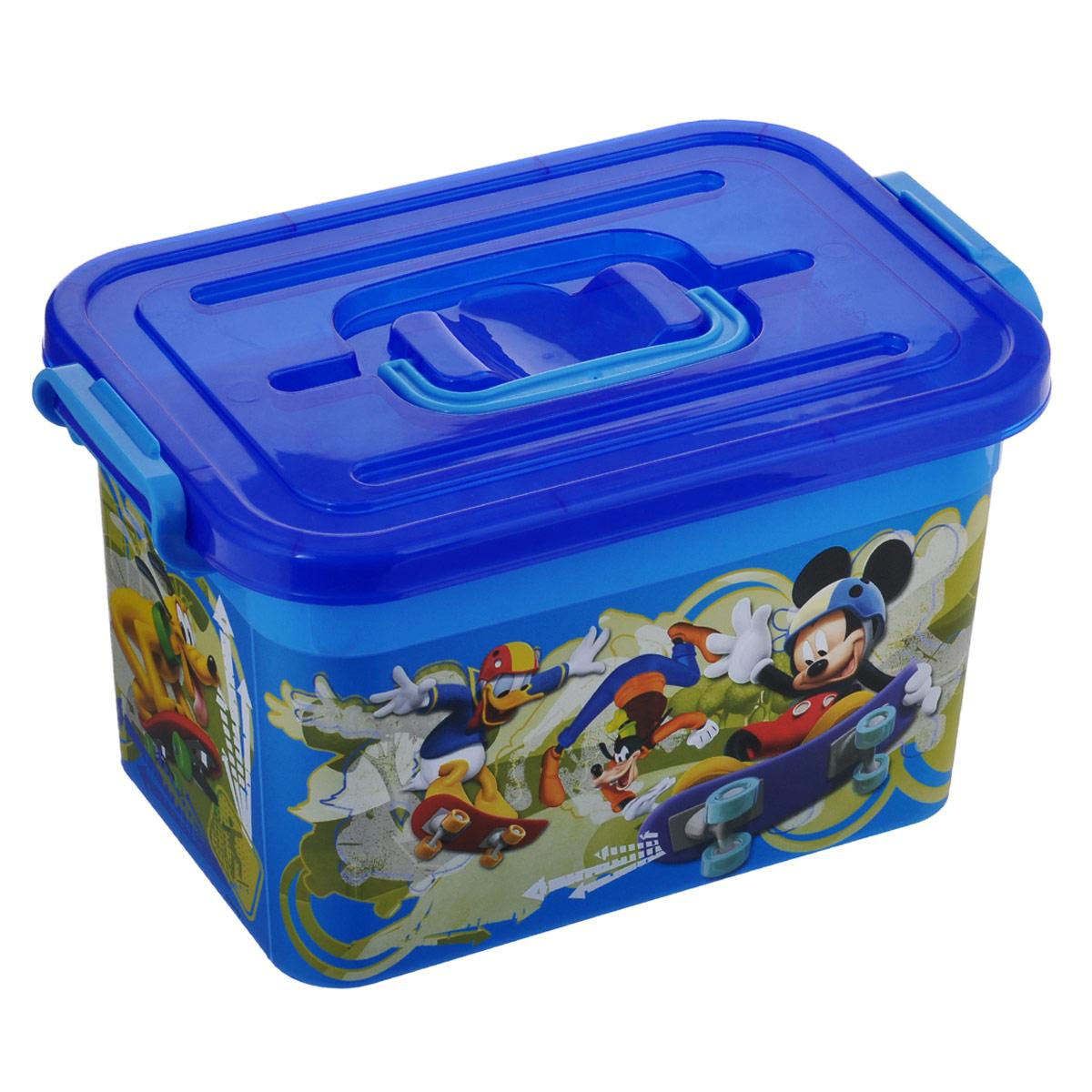 Ящик для игрушек Полимербыт Микки Маус, цвет: синий, 6,5 лС80955Ящик Полимербыт Микки Маус, выполненный из высококачественного пластика, предназначен для хранения детских игрушек. Декорирован изображением любимых мультипликационных героев. Закрывается ящик при помощи крепких защелок по бокам, которые не допускают случайного открывания. Для удобства переноски сверху имеется ручка.