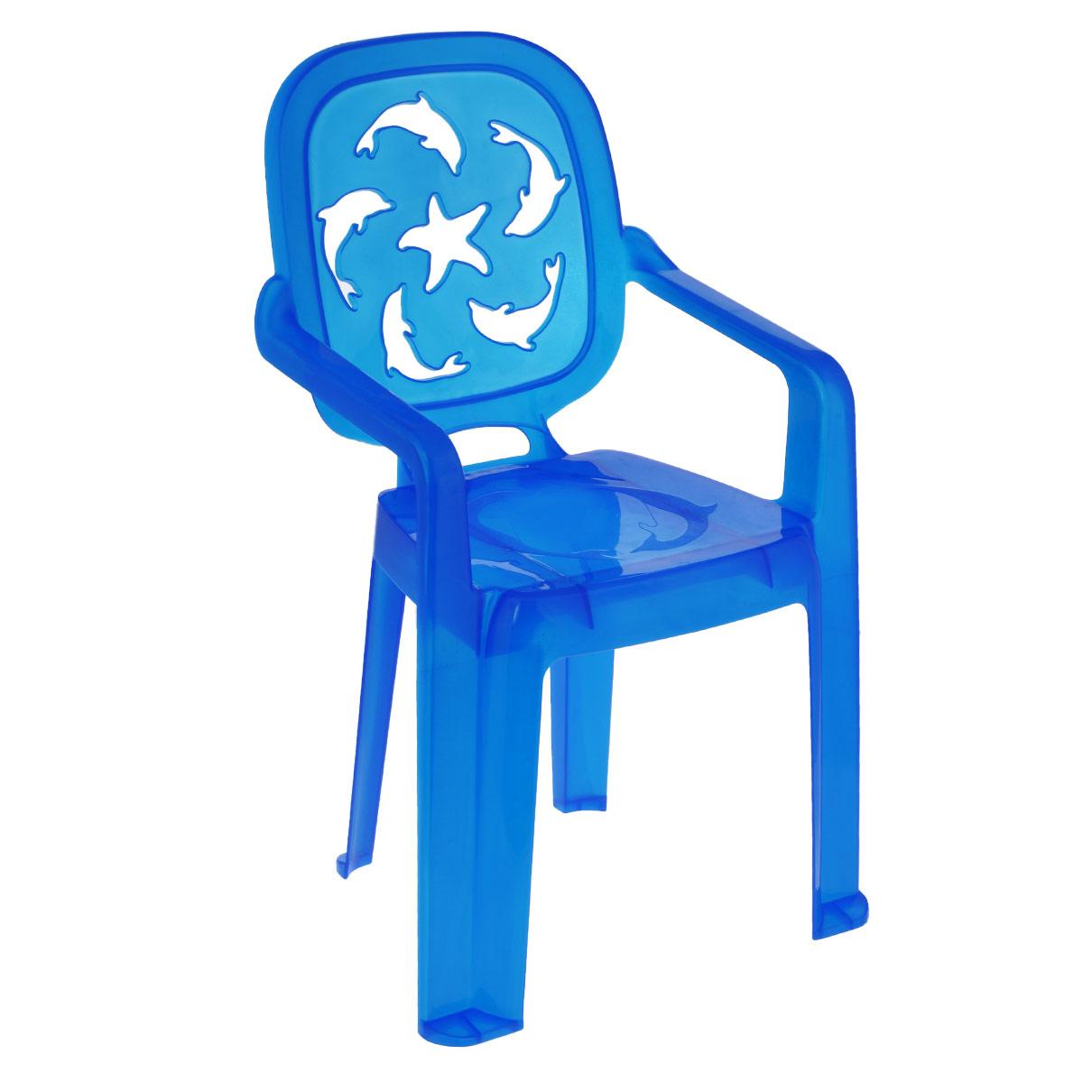 Стульчик детский Idea Океаник, цвет: синийМ 2288Детский стульчик Idea Океаник выполнен из высококачественного пластика. Прочный и удобный, без острых углов, неподверженный коррозии и легко транспортируемый стул прослужит долгие годы. Сиденье стульчика оформлено рельефным изображением дельфинов, а спинка оформлена перфорацией в виде дельфинов и морской звезды. Надежная опора ножек предотвращает опрокидывание стула. Детский стул Idea Океаник порадует вашего ребенка.
