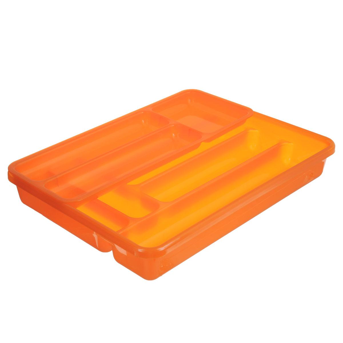 Лоток для столовых приборов Cosmoplast, двойной, цвет: оранжевый, 40 см х 30 см2143_оранжевыйЛоток для столовых приборов Cosmoplast изготовлен из пластика. Изделие имеет 3 одинаковых секции для столовых ложек, вилок и ножей, 2 секции для чайных ложек и других мелких столовых приборов и длинную секцию для различных кухонных принадлежностей. Лоток оснащен съемным отделением с 3 дополнительными секциями. Помещается в любой кухонный ящик.