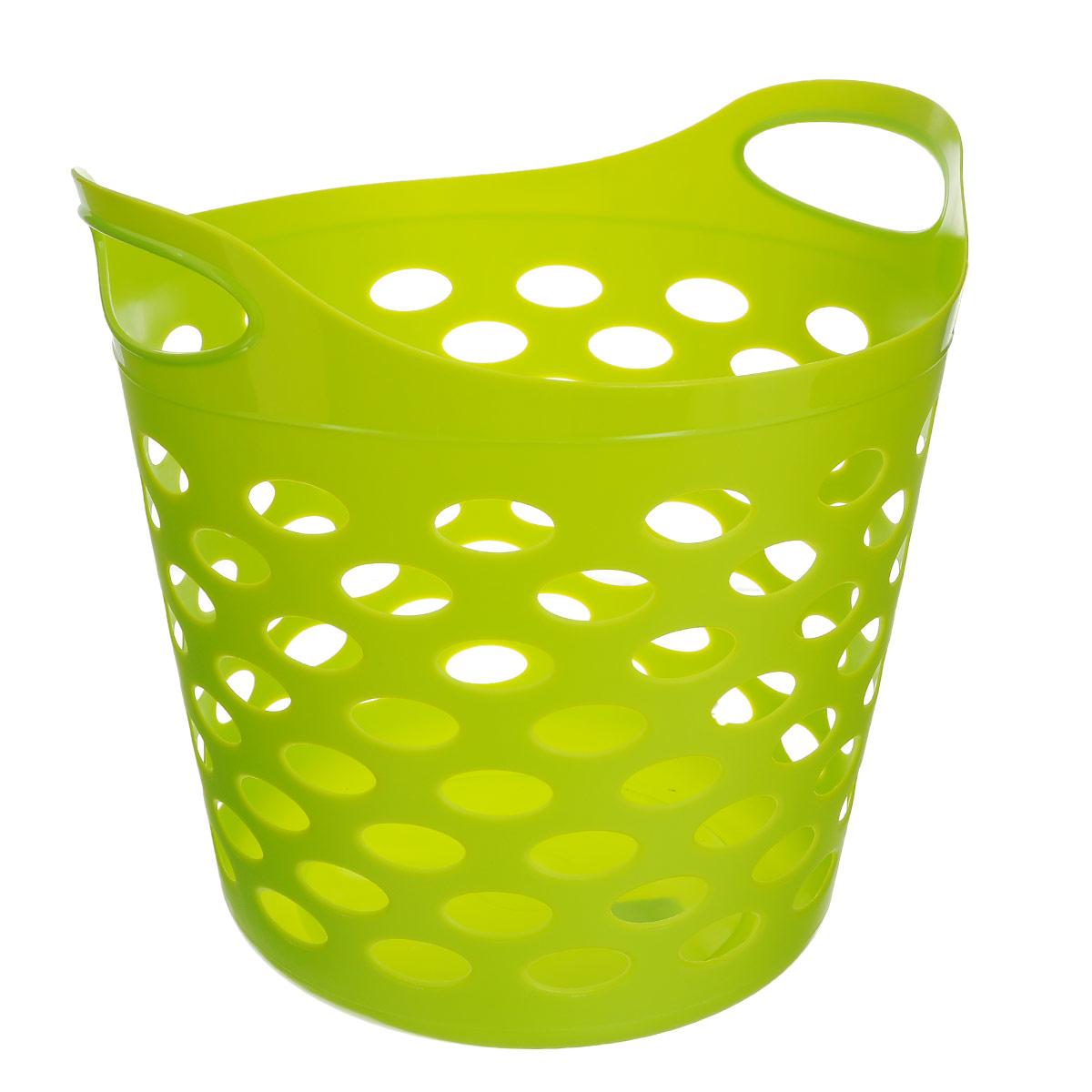 Корзина универсальная Gensini, цвет: салатовый. 33103310_салатовыйУниверсальная корзина Gensini отлично подойдет для хранения белья перед стиркой, игрушек и других вещей. Она выполнена из высококачественного мягкого пластика и оснащена двумя удобными ручками для переноски. Современный дизайн корзины позволит ей вписаться в любой интерьер, а благодаря своим компактным размерам она не займет много места. Диаметр корзины (без учета ручек): 37 см. Высота корзины (без учета ручек): 31 см. Высота корзины (с учетом ручек): 38 см.