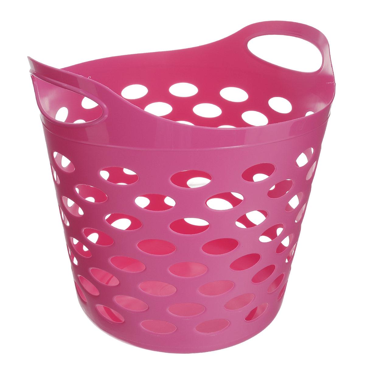 Корзина универсальная Gensini, цвет: розовый, 32 лZ-0307Универсальная корзина Gensini отлично подойдет для хранения белья перед стиркой, игрушек и других вещей. Она выполнена из высококачественного мягкого пластика и оснащена двумя удобными ручками для переноски. Современный дизайн корзины позволит ей вписаться в любой интерьер, а благодаря своим компактным размерам она не займет много места. Диаметр корзины (без учета ручек): 37 см. Высота корзины (без учета ручек): 31 см. Высота корзины (с учетом ручек): 38 см. Объем корзины: 32 л.