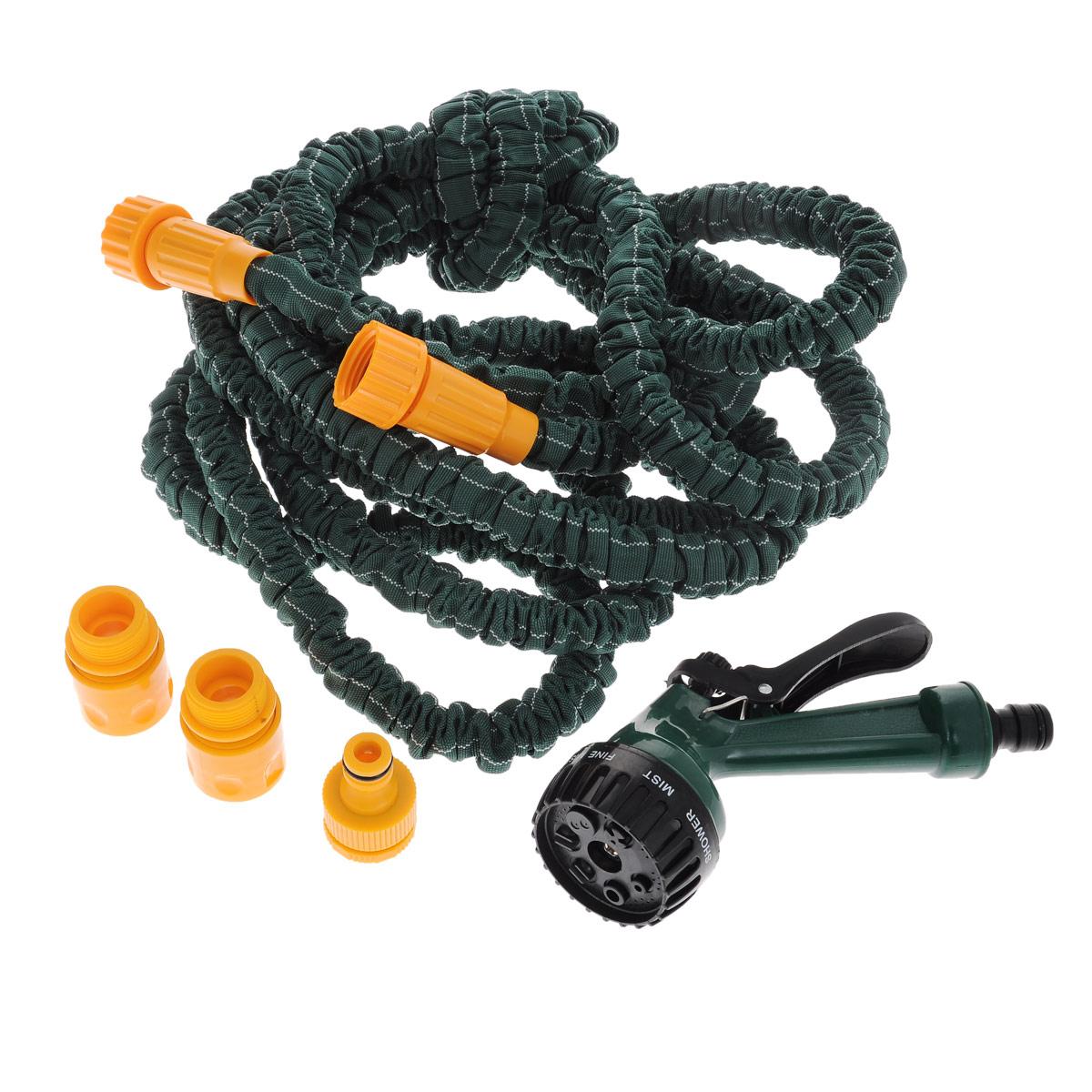 """Шланг садовый Bradex """"Pocket Hose Ultra"""", с лейкой, цвет: зеленый, 5-15 м TD 0257"""