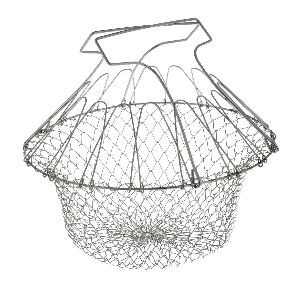 Решетка для приготовления пищи Bradex Chef Basket, складнаяTK 0143Решетка Bradex Chef Basket изготовлена из высококачественной нержавеющей стали. Это совершенно удивительное устройство со множеством функций заменит собой пароварку, жаровню, дуршлаг и прочую кухонную утварь значительного размера. Форма для варки и жарки - с поднятыми ручками решетка позволяет вам сложить в нее ингредиенты, и варить прямо в кастрюле. Идеальный вариант для варки яиц, макарон, пельменей и других продуктов. После окончания варки вы просто вынимаете решетку из кастрюли, в которой и остается вся вода! Таким же образом вы сможете пожарить картофель фри или рыбу в кляре. Диаметр: 23 см. Размер (в собранном виде): 24 см х 22,5 см х 29 см. Размер (в разобранном виде): 23 см х 23 см х 2 см.