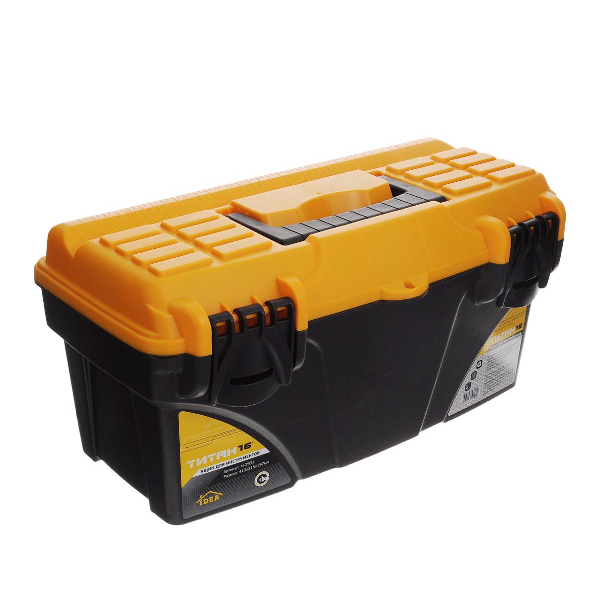Ящик для инструментов Idea Титан 16, 41 х 21,5 х 19,7 смМ 2931Ящик Idea Титан 16 изготовлен из прочного пластика и предназначен для хранения и переноски инструментов. Вместительный ящик внутри имеет большое главное отделение. В комплект входит съемный лоток с ручкой для инструментов. Для более комфортного переноса в руках, на крышке предусмотрена удобная ручка. Крышка оснащена линейкой. Ящик закрывается при помощи двух защелок, которые не допускают случайного открывания. Размер лотка: 39 см х 17 см х 5,5 см.