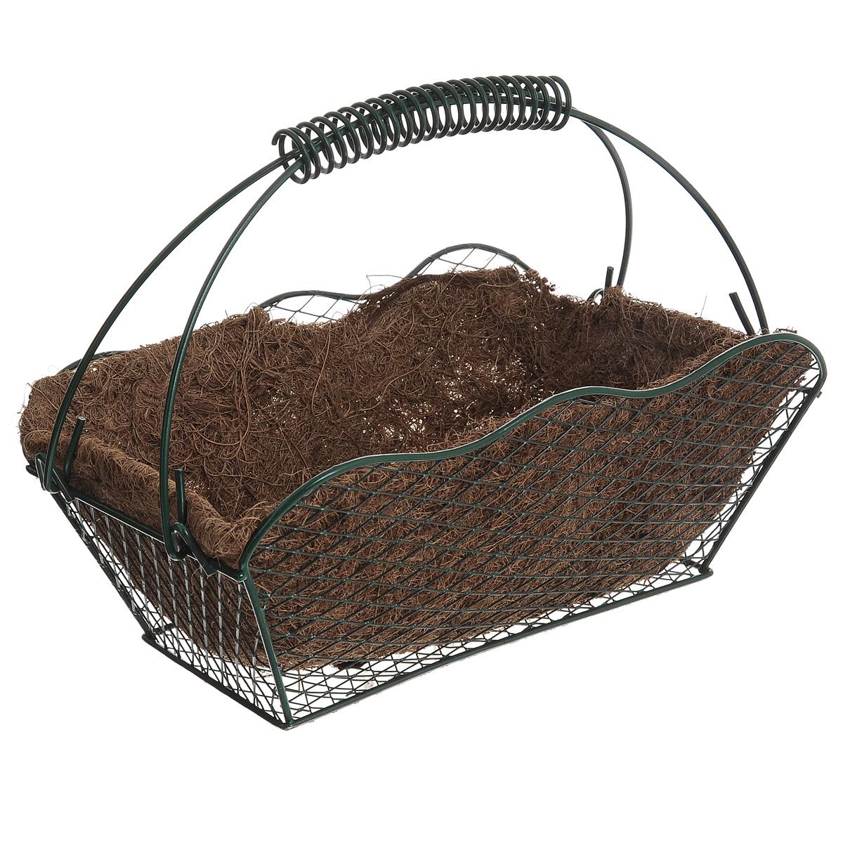 Корзина Greenell, с вкладышем, 27 х 16,5 х 20 см19201Корзина Greenell изготовлена из стали, оснащена вкладышем из кокосового волокна. Корзина предназначена для выращивания цветов и других декоративных растений.В ней хорошо будут расти любые цветы: кокосовое волокно является идеальным субстратом для растений.Кокосовое волокно способствует сохранению в почве питательных веществ и сохранению комфортного для растений уровня влажности.