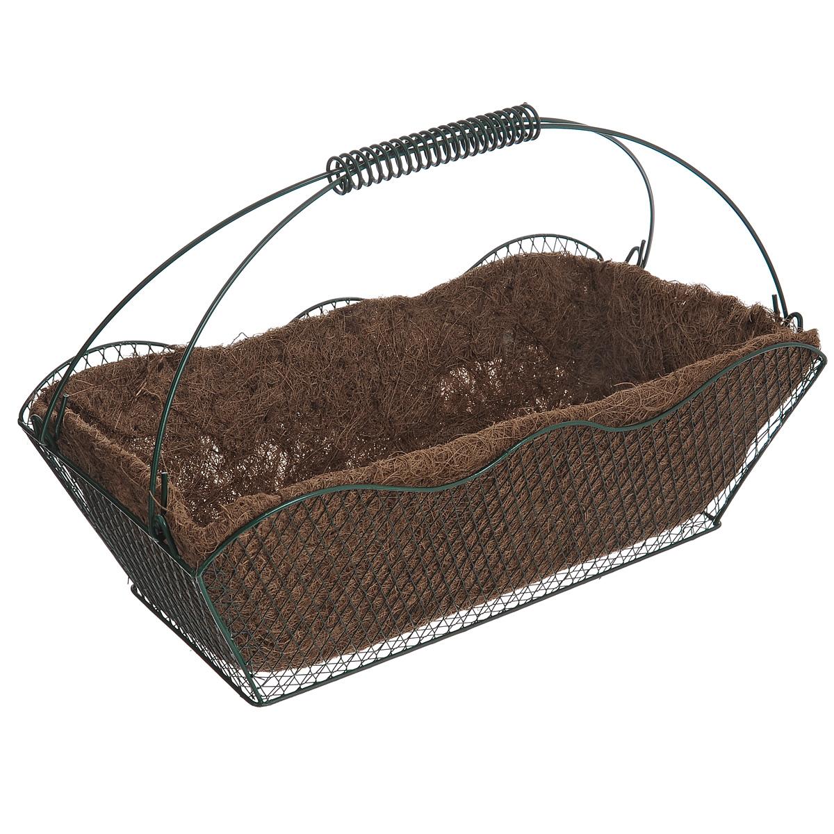 Корзина Greenell, с вкладышем, 42 см х 20,5 см х 25 смWB20-40Корзина Greenell изготовлена из стали, оснащена вкладышем из кокосового волокна. Корзина предназначена для выращивания цветов и других декоративных растений. В ней хорошо будут расти любые цветы: кокосовое волокно является идеальным субстратом для растений. Кокосовое волокно способствует сохранению в почве питательных веществ и сохранению комфортного для растений уровня влажности.