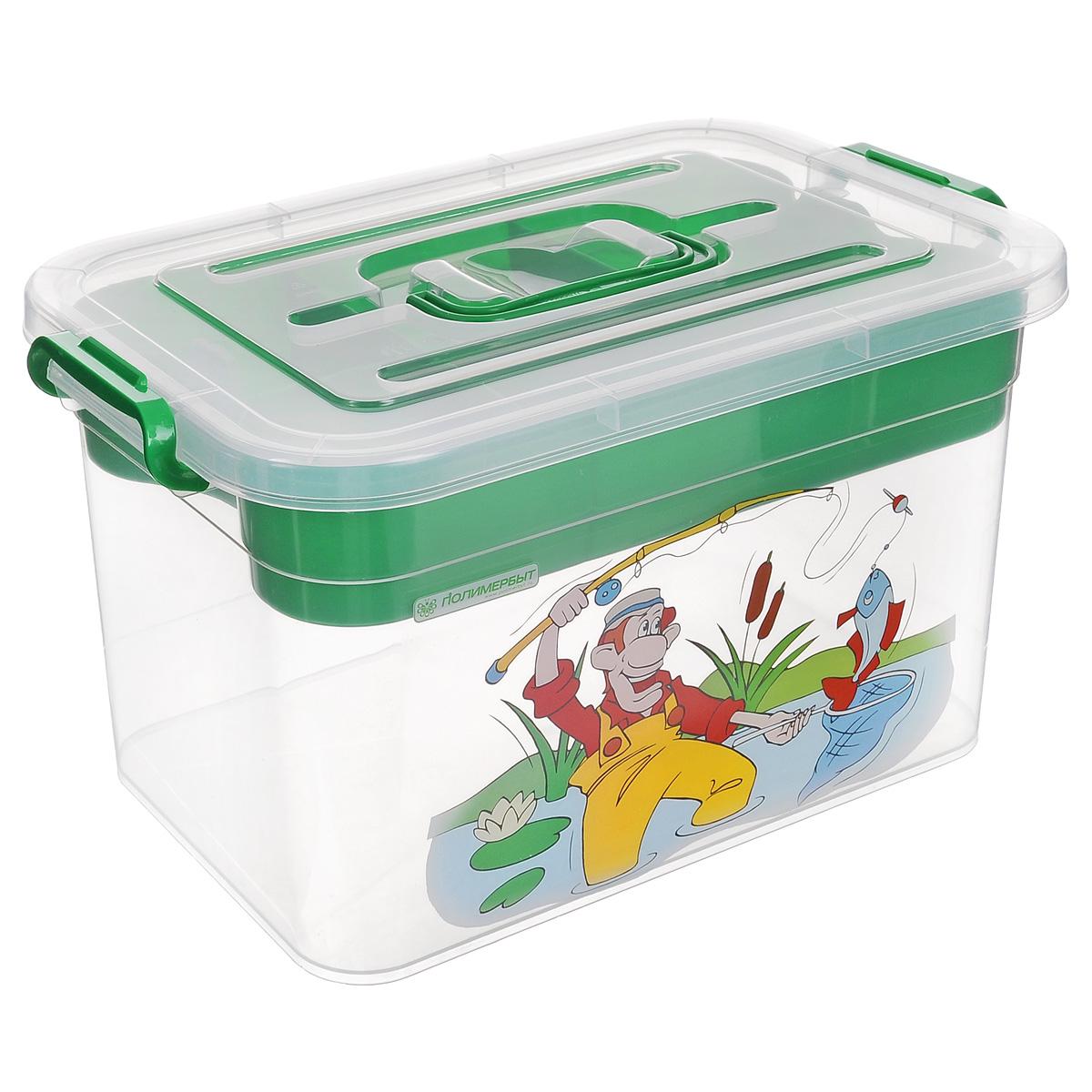 Контейнер для хранения Полимербыт Рыбалка, с вкладышем, цвет: зеленый, 10 лС81004Контейнер Полимербыт Рыбалка выполнен из прочного пластика и предназначен для хранения рыболовных принадлежностей. Внутри контейнера имеется съемный вкладыш с ячейками разной формы и размера, в котором можно хранить мелкие вещи. Закрывается контейнер при помощи крепких защелок по бокам, которые не допускают случайного открывания. Контейнер оснащен удобной ручкой, благодаря которой его можно без проблем переносить с места на место. Ручка прячется в крышке, что дает возможность размещать сверху другие контейнеры. Контейнер поможет хранить предметы для рыбалки в одном месте, а также защитить их от пыли и грязи. Размер вкладыша: 30,5 см х 20 см х 5 см. Размер самого большого отделения вкладыша: 20 см х 9,8 см х 4 см. Размер самого маленького отделения вкладыша: 9,8 см х 9,8 см х 4 см.
