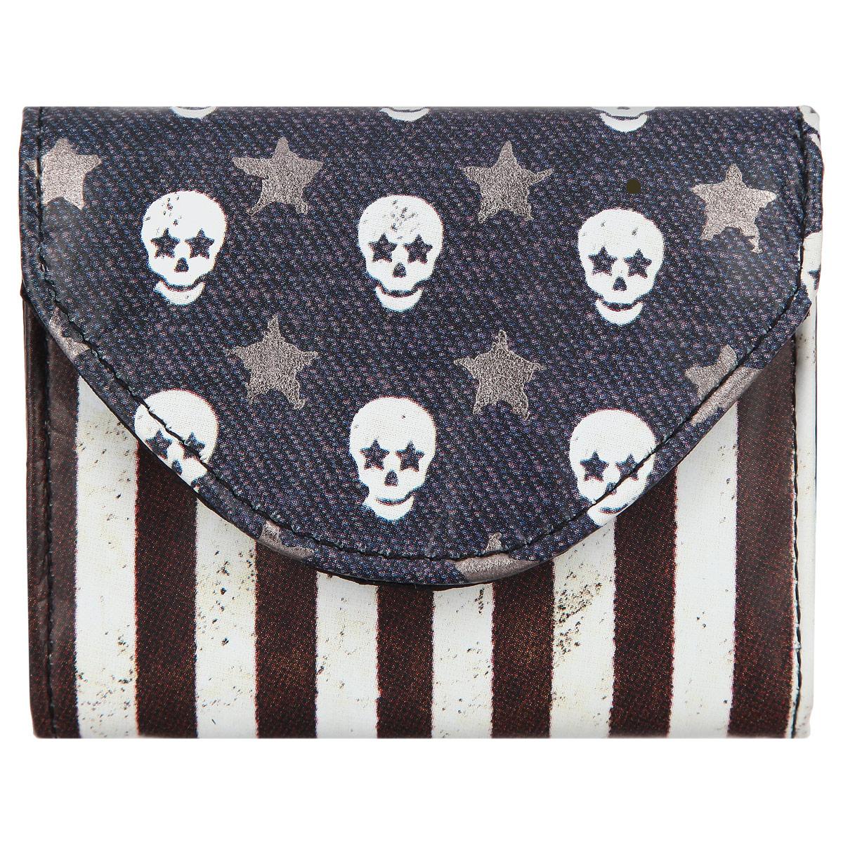"Визитница-кошелек Mojo pax ""Skull Flag"", цвет: синий, белый, серебряный. KU9982983"