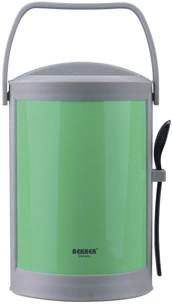 Термоконтейнер Bekker, цвет: зеленый, серый, 1,8 лVT-1520(SR)Термоконтейнер Bekker изготовлен из высококачественного пищевого пластика. Предназначен для хранения пищевых продуктов, для этого предусмотрены три круглые емкости с крышками, которые позволяют хранить сразу три разных блюда. Двойные стенки термоконтейнера поддерживают температуру продуктов до 3-4 часов. Контейнер снабжен удобной ручкой для переноски, а также ложкой, которая крепится в специальное отверстие снаружи корпуса. Стильный и функциональный термос будет незаменим в дороге, а также на пикнике. Его можно взять с собой куда угодно, и вы всегда сможете наслаждаться горячей домашней пищей. Объем емкостей: 300 мл, 300 мл, 500 мл. Размер емкостей: 11 х 11 х 4,5 см; 11 х 11 х 7 см. Длина ложки: 16 см. Размер термоконтейнера: 15 х 15 х 24 см.