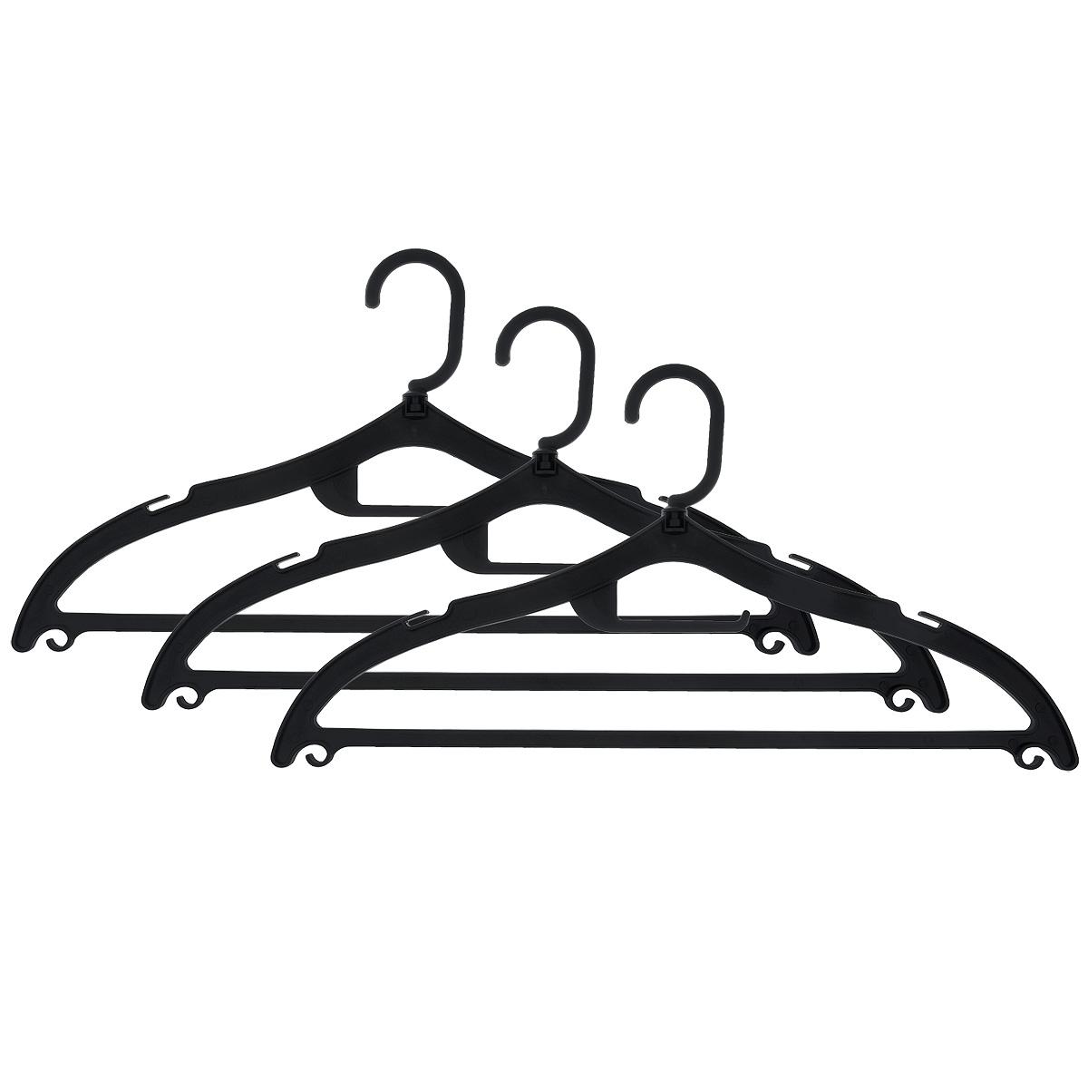 Набор вешалок Полимербыт, с перекладиной, с крючками, цвет: черный, размер 48-50, 3 шт. С322С322Набор Полимербыт, выполненный из прочного пластика, состоит из 3 вешалок. Каждое изделие оснащено перекладиной, боковыми крючками, крючком для галстуков, а также выемками для петелек одежды. Вешалка - это незаменимая вещь для того, чтобы ваша одежда всегда оставалась в хорошем состоянии. Комплектация: 3 шт. Размер одежды: 48-50.