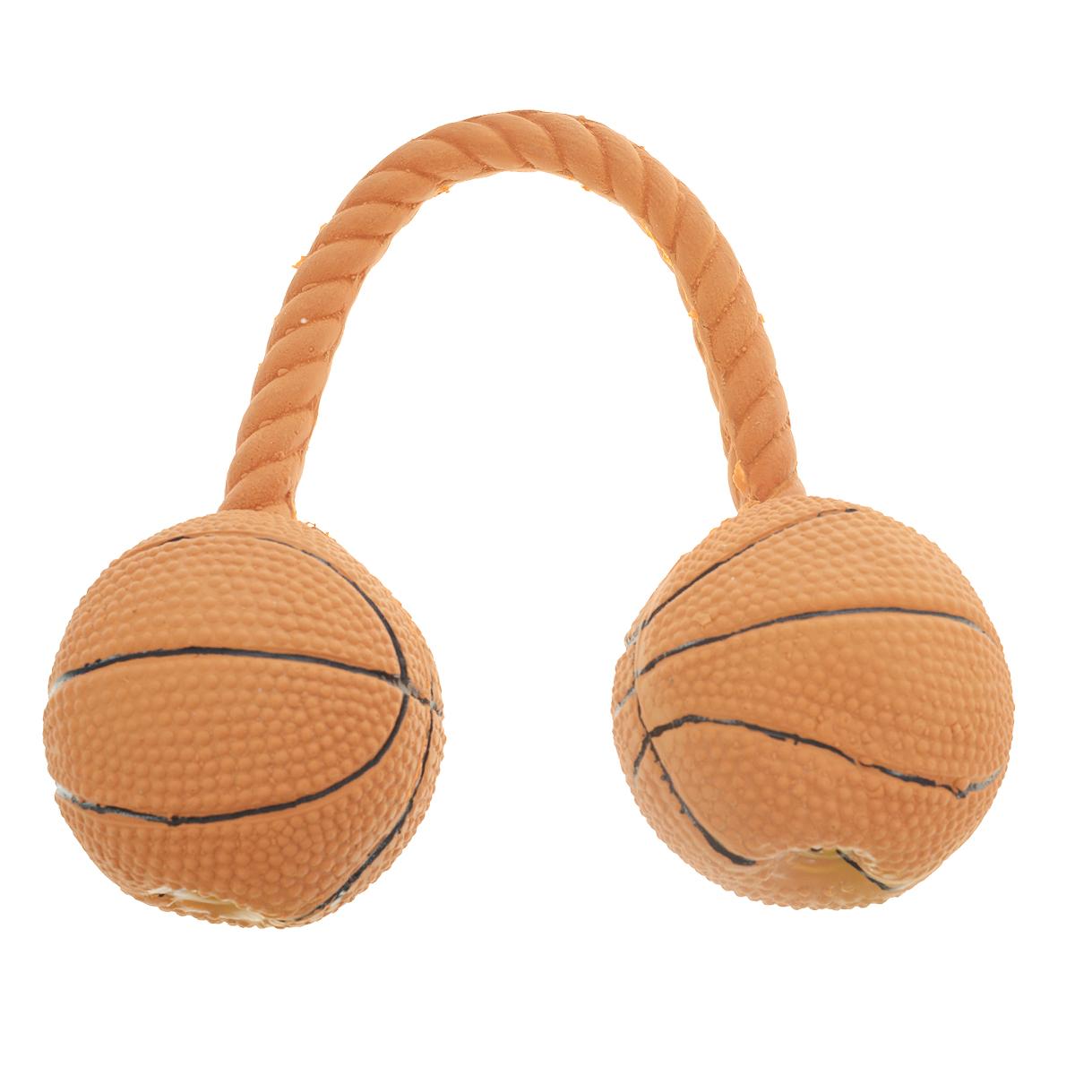 Игрушка для собак V.I.Pet Гантель баскетбольная, цвет: коричневыйL-118Игрушка V.I.Pet Баскетбольная гантель изготовлена из латекса с использованием только безопасных, не токсичных красителей. Великолепно подходит для игры и массажа десен вашей собаки. Гантель при надавливании или захвате пастью пищит. Такая игрушка порадует вашего любимца, а вам доставит массу приятных эмоций, ведь наблюдать за игрой всегда интересно и приятно. Оставшись в одиночестве, ваша собака будет увлеченно играть в эту игрушку. Диаметр мяча: 6,5 см.