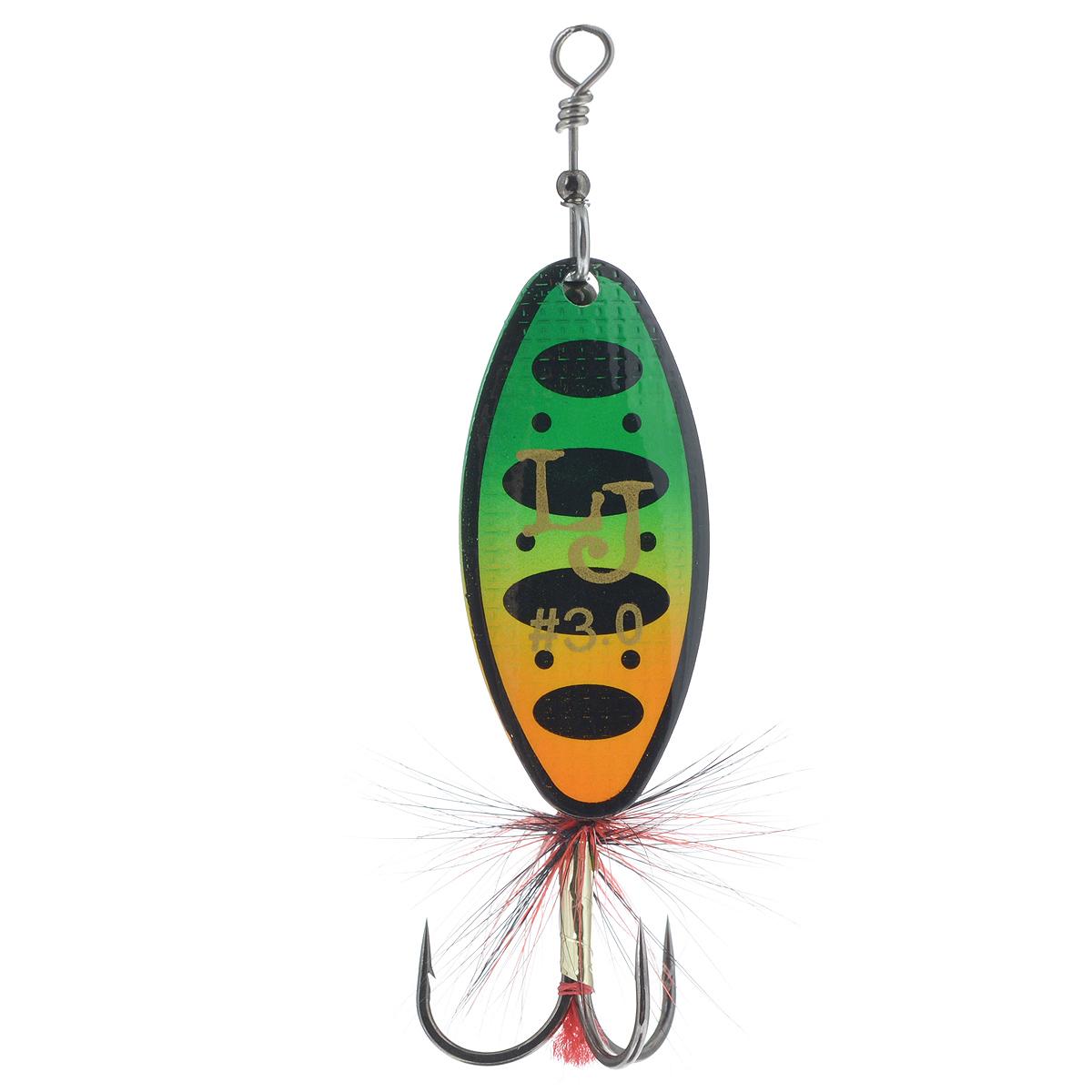 Блесна вращающаяся Lucky John Shelt Blade Tungsten Body, цвет: зеленый, желтый, 14 гLJSBT03-008Lucky John Shelt Blade Tungsten Body – вращающаяся блесна с формой лепестка long. В этой приманке используются современные конструктивные решения, которые обеспечивают надежную и стабильную игру блесен, что делает их очень привлекательными для любой хищной рыбы. Главный элемент блесны – вращающийся лепесток. Он сделан из латуни и обладает хорошими динамическими показателями при вращении в воде, что позволяет делать проводку приманки на минимальной скорости. Лепесток заводится сразу, как только блесна начинает движение. Лепесток окрашен с двух сторон. С какой бы стороны хищная рыба не смотрела на приманку, ее расцветка остается одинаковой и привлекательной, что повышает интерес к блесне и, в итоге, приводит к результативной атаке. Немаловажная деталь – сердечник приманки, который сделан из вольфрама, что придает блесне дополнительную дальность при забросе блесны. На тройнике связана яркая мушка, основное предназначение которой – снять последние сомнения у...