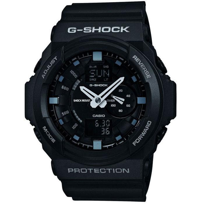 Наручные часы Casio GA-150-1AINT-06501Часы водонепроницаемые и противоударные Casio GA-150. Автоматическая светодиодная подсветка:Для подсветки дисплея используется светодиод, а так же имеет функцию автоматического включения подсветки, если Вы наклоните часы к своему лицу. Ударопрочность:Ударопрочная конструкция защищает от ударов и вибрации. Функция мирового времени:Отображение текущего времени в основных городах и конкретных областях по всему миру. Функция секундомера - 1/1000 сек. - 100 часов:Измерение с точностью до тысячной доли секунды времени прохождения круга и общего времени.Звуковые сигналы подтверждают начало или остановку секундомера. Предел измерений измерений составляет 100 часов.Таймер - 1/1 мин. - 24 часа (с автоматическим повтором):Для поклонников точности: таймеры обратного отсчета напомнят Вам о текущих или особенных событиях, издав звуковой сигнал в установленное время.Время можно предварительно настроить от 1 минуты и до 24 часов. Часы могут затем автоматически начать отсчет в обратного времени в установленное время. Идеальное решение для людей, которым необходимо ежедневнопринимать лекарства или выполнять промежуточные упражнения (тренировки). 5 ежедневных будильников:Будильник напомнит Вам о повторяющихся событиях с помощью звукового сигнала, установленного Вами на определенное время. Вы также можете активировать почасовой сигнал времени, сообщающий о каждом полном часе. Эта модель имеет пять независимых будильников для оповещения о важных встречах. Функция повтора будильника:Каждый раз, когда Вы выключаете звуковой сигнал, он прозвучит повторно спустя несколько минут.Отображение скорости:Можно рассчитать среднюю скорость пройденного маршрута. Просто введите расстояние на начало и нажмите на секундомер при достижении пункта назначения - будет отображена средняя скорость. Автоматический календарь:После настройки автоматический календарь всегда отображает точную дату. 12/24-часовое отображение времени:Отображение времени можно в 12-часовом или 2