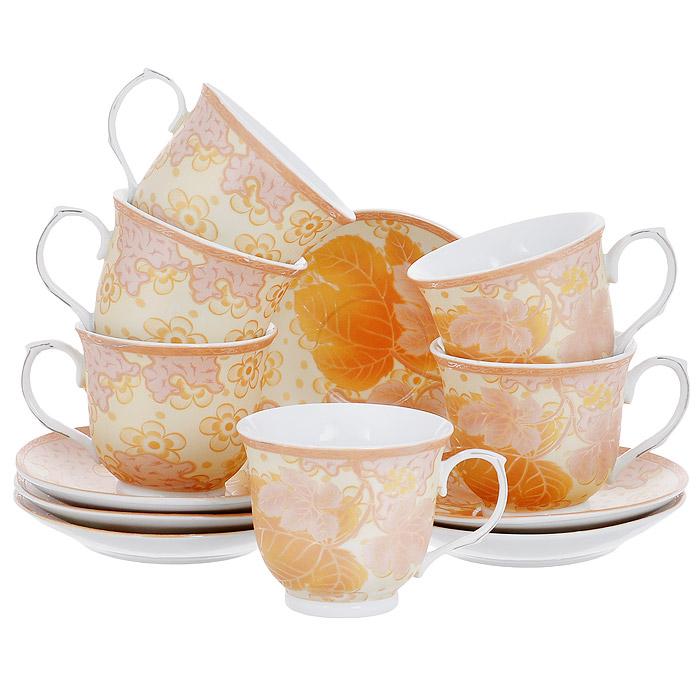 Набор чайный House & Holder, цвет: золотистый, 12 предметов115610Чайный набор House & Holder состоит из шести чашек и шести блюдец, выполненных из высококачественного фаянса. Внешняя поверхность предметов набора шероховатая. Изделия оформлены изящным цветочным рисунком в золотисто-розовых оттенках. Изящный набор эффектно украсит стол к чаепитию и порадует вас функциональность и ярким дизайном. Диаметр блюдца: 14 см. Объем чашки: 250 мл. Диаметр чашки (по верхнему краю): 9 см. Высота чашки: 7,5 см.