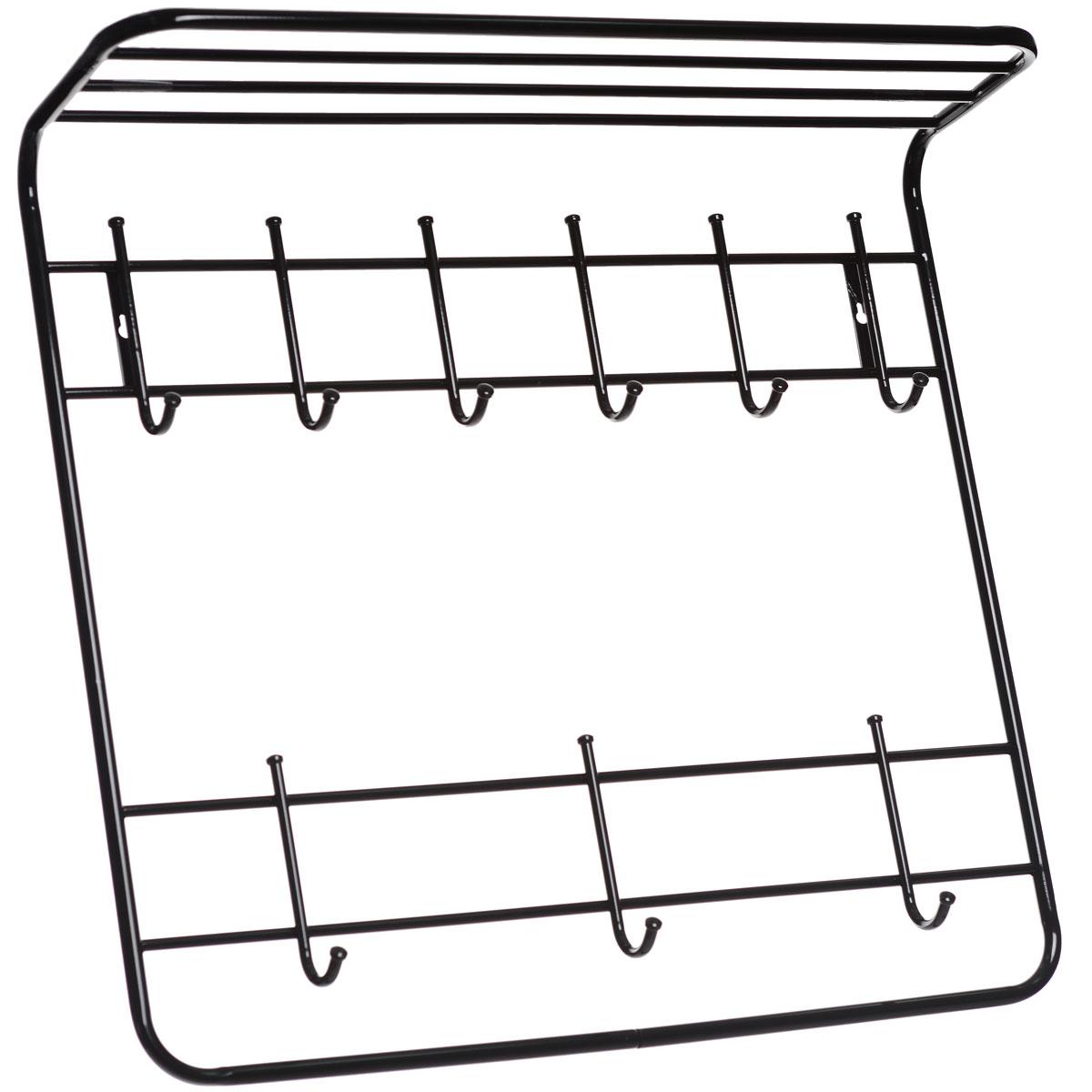 Вешалка ЗМИ, 2-х ярусная, цвет: черный, 80 х 75 х 20 смВСП 9Металлическая вешалка с полимерным покрытием ЗМИ имеет два яруса крючков. Первый ярус имеет 3 крючка, на которые удобно вешать сумки и зонты. Второй ярус имеет 6 крючков, предназначенных для одежды и шарфов. Вешалка оснащена полкой, на которой можно поместить шапки и перчатки. Крепится к стене при помощи двух шурупов (не входят в комплект). Вешалка ЗМИ идеально подходит для маленьких прихожих и ограниченных пространств. Размер вешалки: 80 см х 75 см х 20 см.