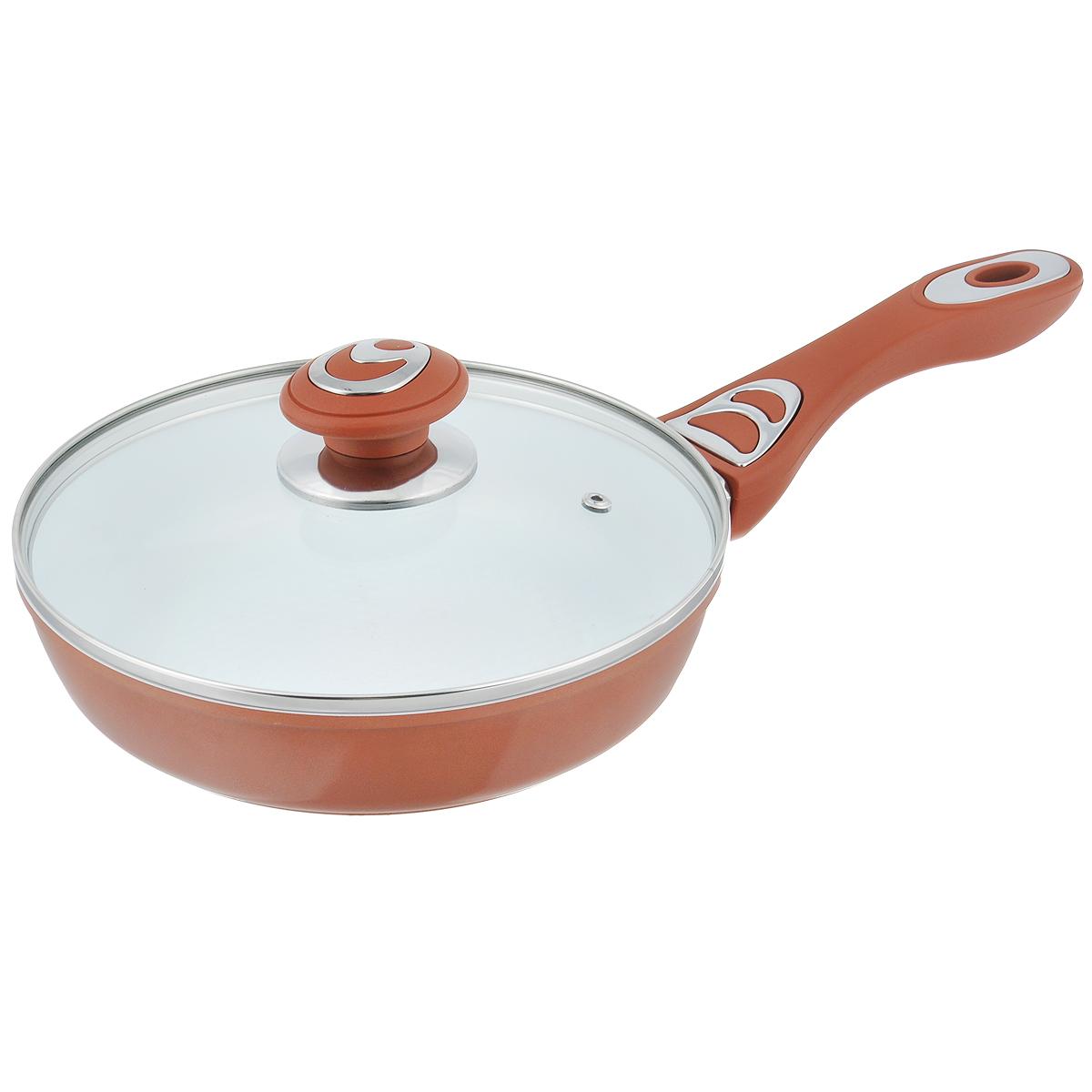 Сковорода Bohmann с крышкой, с керамическим покрытием, цвет: коричневый. Диаметр 22 см. 7512BH/NEW7512BH/NEW_коричневыйСковорода Bohmann изготовлена из алюминия с износоустойчивым керамическим покрытием. Благодаря керамическому покрытию пища не пригорает и не прилипает к поверхности сковороды, что позволяет готовить с минимальным количеством масла. Кроме того, такое покрытие абсолютно безопасно для здоровья человека, так как не содержит вредной примеси PTFE. Керамическое покрытие устойчиво к высоким температурам, резким перепадам температур и коррозии. Покрытие устойчиво к царапинам и имеет водоотталкивающий эффект. Рифленая внутренняя поверхность сковороды в виде сот обеспечивает быстрое и легкое приготовление. Внешнее покрытие - жаростойкий лак, который сохраняет цвет долгое время и обладает жироотталкивающими свойствами. Сковорода быстро разогревается, распределяя тепло по всей поверхности, что позволяет готовить в энергосберегающем режиме, значительно сокращая время, проведенное у плиты. Сковорода оснащена удобной ручкой, выполненной из бакелита с...
