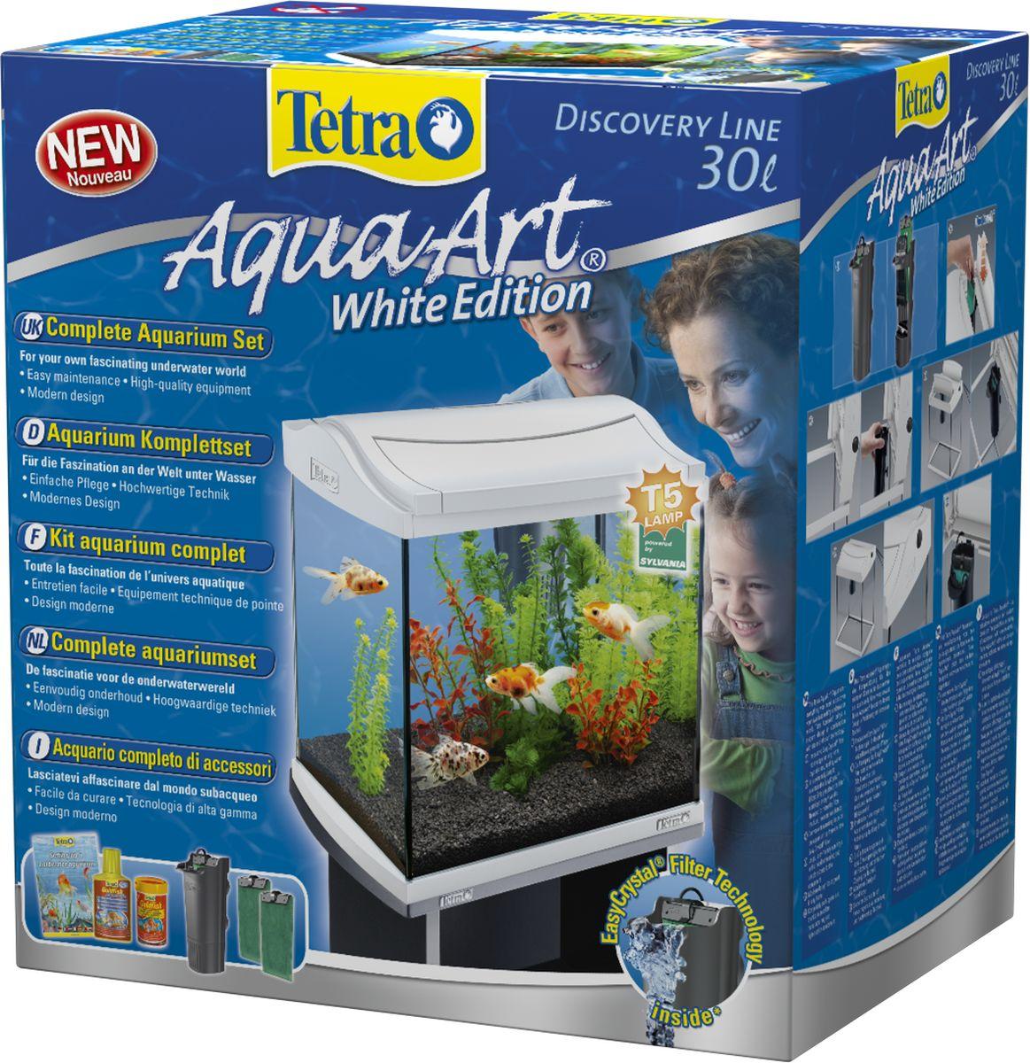 Аквариумный комплекс Tetra AquaArt, цвет: белый, 30 л211940Аквариумный комплекс Tetra AquaArt с LED освещением предназначен для содержания ракообразных и креветок. Высококачественный стильный дизайн аквариума модном цветовом решении, современное оборудование. Стабильная крышка с люминисцентной Т5 лампой продолжительного использования 8Вт для превосходного освещения и яркости. Прочное 4мм флоат-стекло, свободное от искажений и с обработанными краями. Большое удобное отверстие облегчает процесс кормления и предусматривает легкий доступ к оборудованию. Инновационный фильтр Tetra EasyCrystal c двумя запасными фильтровочными губками для кристально прозрачной, здоровой воды. Удобные держатели на рамке аквариума позволяют легко закрепить фильтр. Фильтр очень легко чистить; нужно лишь заменять картридж каждые 4 недели. Нет необходимости промывать фильтрующую губку, а значит, ваши руки останутся сухими! TetraWafer Mix (3 г) - cмесь основного корма для...