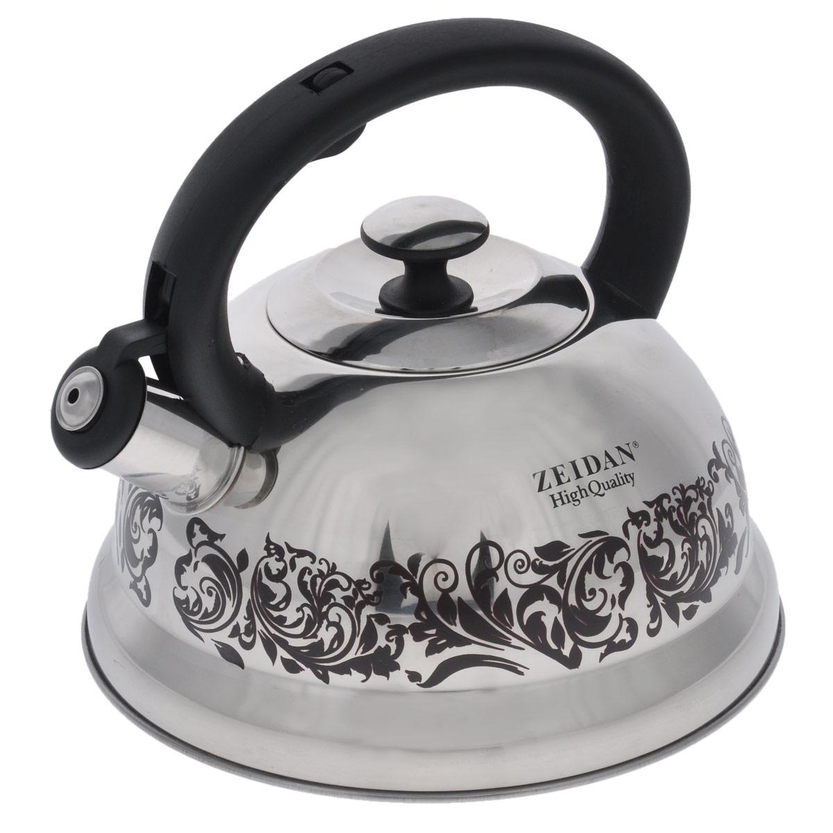 Чайник Zeidan со свистком, цвет: черный, 3 лZ-4087Чайник Zeidan изготовлен из высококачественной нержавеющей стали. Этот материал отличается высокой экологической чистотой и сохраняет прекрасный внешний вид много лет. Корпус чайника имеет зеркальную полировку и оформлен оригинальным орнаментом. Свисток на носике сообщит вам, когда вода закипит, уровень громкости свистка будет зависеть от степени закипания воды. Эргономичная и надежная ручка из бакелита не нагревается. Металлическая крышка плотно и герметично закрывает чайник. Благодаря своей конструкции трехслойное капсульное дно с алюминиевой прослойкой способно аккумулировать, а также быстро и равномерно распределять тепловую энергию. Подходит для всех типов плит, включая индукционные. Можно мыть в посудомоечной машине. Диаметр чайника (по верхнему краю): 9,5 см. Высота чайника (с учетом ручки): 20,5 см. Высота чайника (без учета ручки): 11,5 см.