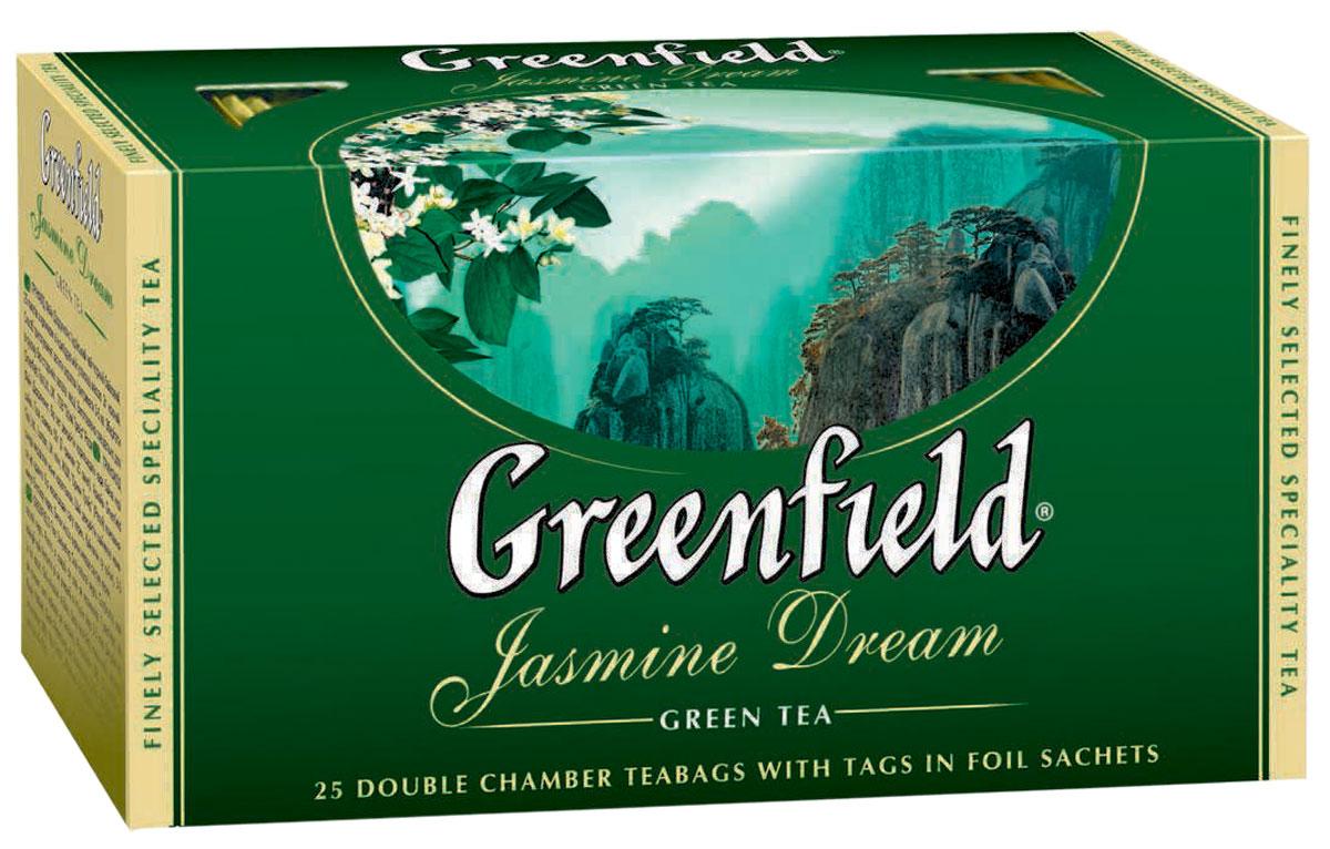 Greenfield Jasmine Dream зеленый ароматизированный чай в пакетиках, 25 шт0120710Жасминовый чай ценится за особенный бодрящий эффект. Воздушный аромат жасмина подчеркивает чистый, освежающий вкус благородного зеленого чая из провинции Юньнань.Вместе с Greenfield Jasmine Dream приходит весеннее настроение!