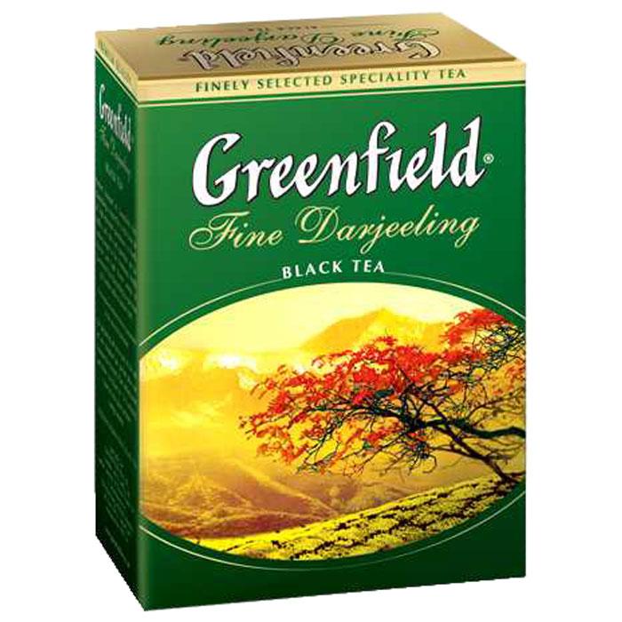 Greenfield Fine Darjeeling черный листовой чай, 100 г0120710Совершенный букет Greenfield Fine Darjeeling рождается из чистоты высокогорных плантаций северной Индии, прохлады дождей и щедрости солнца, ласкающего склоны Гималайских хребтов. Игристый вкус и легкий цветочный аромат Greenfield Fine Darjeeling - бесценный дар, светлая улыбка природы.