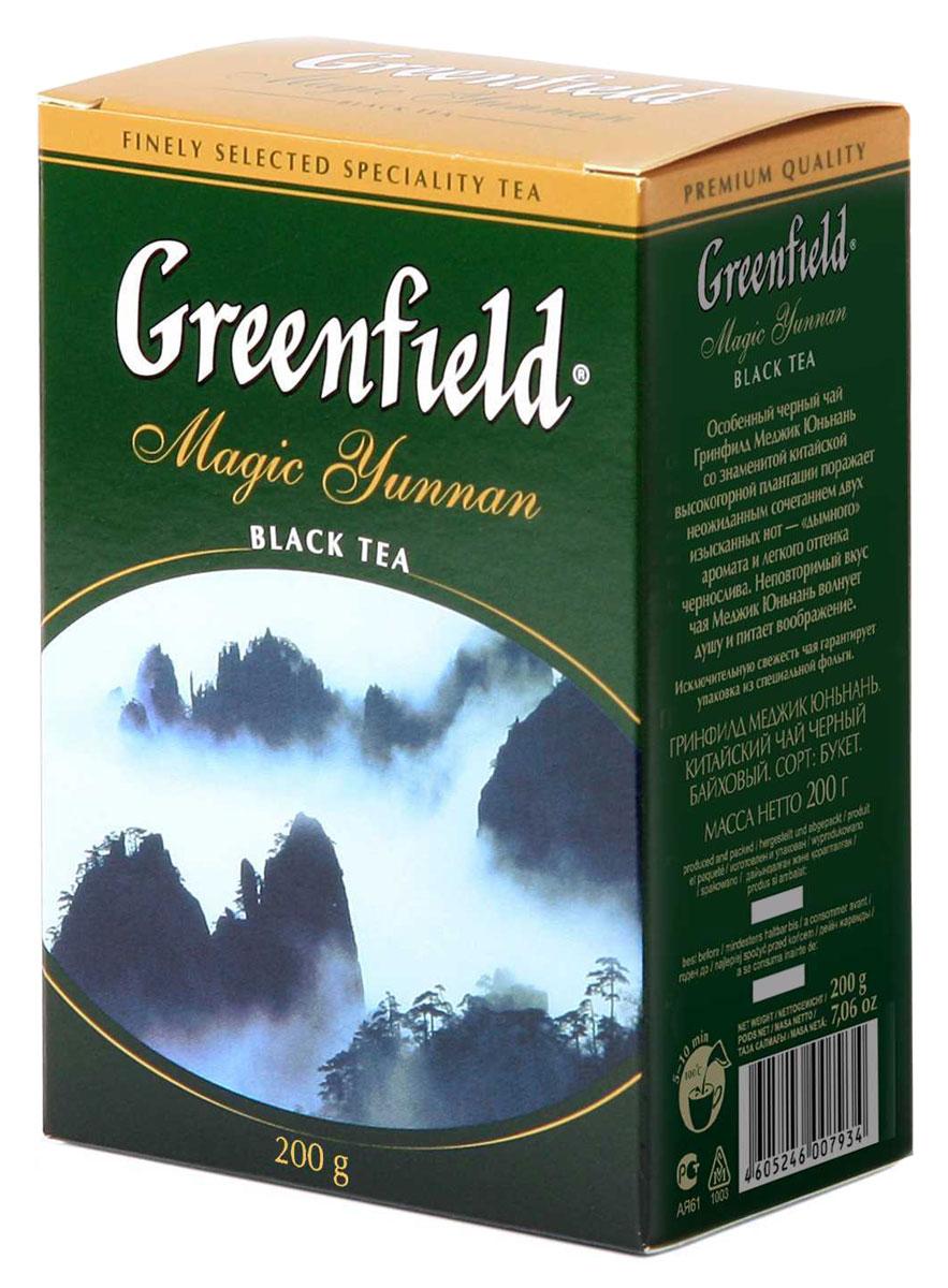 Greenfield Magic Yunnan черный листовой чай, 200 г0793-14Особенный черный чай Greenfield Magic Yunnan со знаменитой высокогорной китайской плантации поражает неожиданным сочетанием двух изысканных вкусовых нот - дымного аромата и легкого оттенка чернослива. Неповторимый вкус чая Greenfield Magic Yunnan волнует душу и питает воображение.