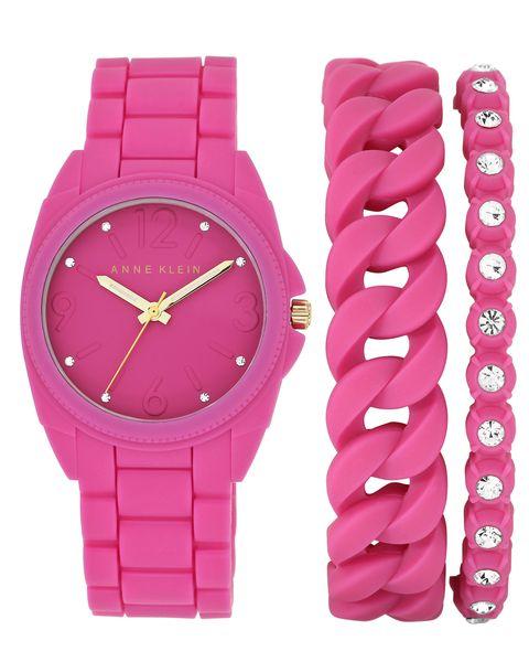 Часы наручные женские Anne Klein 1956PKST, цвет: розовыйINT-06501Корпус: силикон цвета фуксия, 36 мм, стекло: минеральное, браслет и безель: силикон цвета фуксия, 2 дополнительных браслета, кристаллы Swarovski, механизм: кварцевый, водозащита:3 АТМ