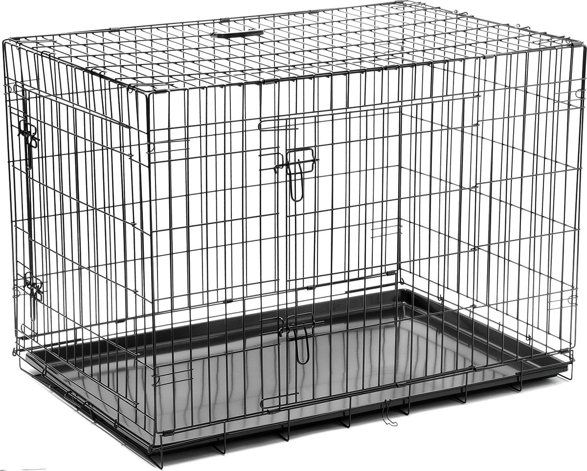 Клетка для собак V.I.Pet, с поддоном, двухдверная, 108 х 70 х 78 см06005Металлическая клетка для собак V.I.Pet отлично подойдет для перевозки вашего питомца в машине, а также для удобного размещения дома или на выставке. Клетка оборудована пластиковым поддоном и прорезиненными ножками, которые предотвращают скольжение клетки по полу. Изделие имеет две дверцы - одну спереди и одну сбоку. Фиксируются дверцы при помощи надежных замков. Клетка легко и просто собирается без инструментов. Для удобства переноски изделие оснащено удобной пластиковой ручкой.