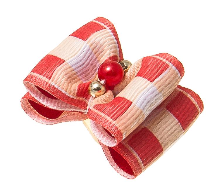 Бантик объемный V.I.Pet Ностальжи, двойной, цвет: красный, белый, 3,5 см х 2,5 см, 2 шт18408Объемный бантик V.I.Pet Ностальжи - это красивое и стильное украшение для собак мелких пород и других животных. Выполнен из тканей различных структур, плотности и фактуры и латексной резинки.