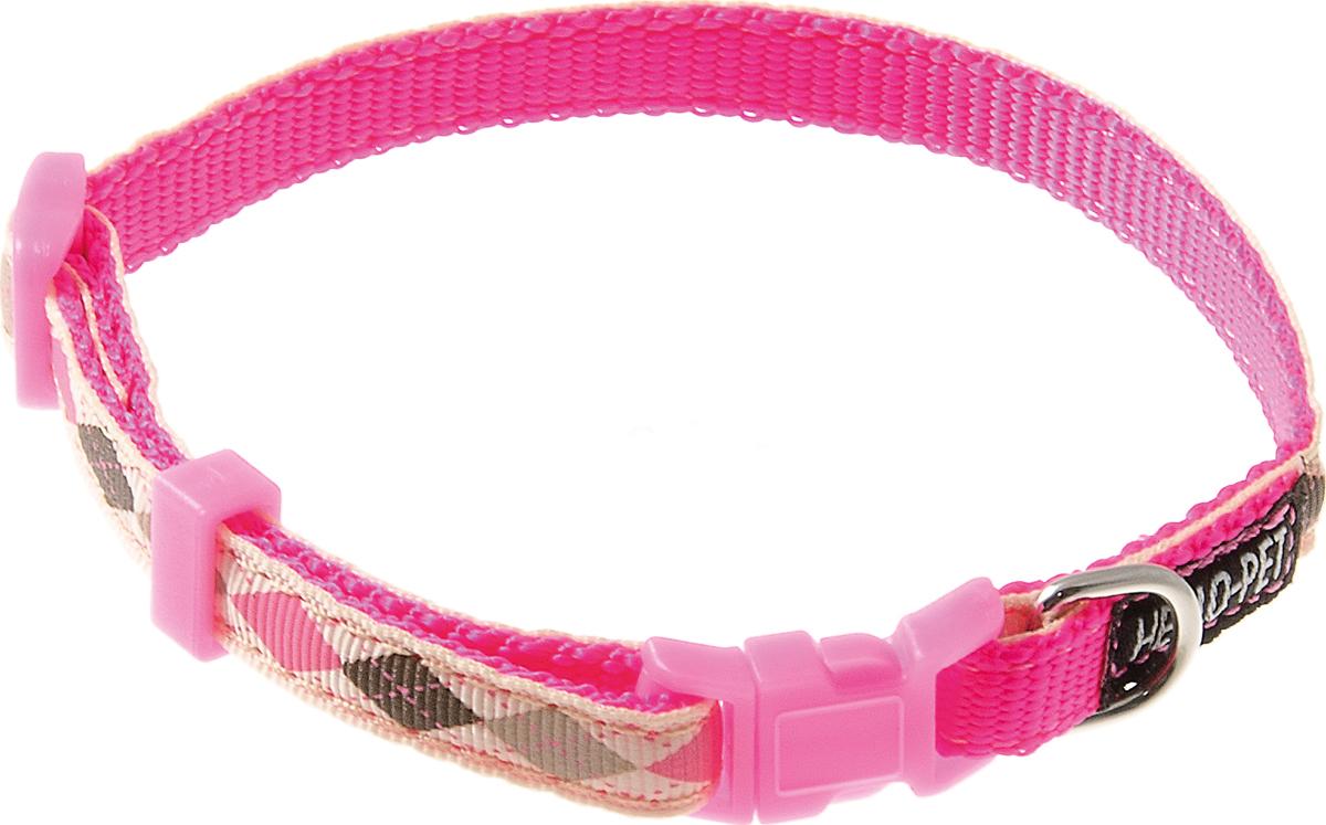 Ошейник для собак Hello Pet Ромбики, цвет: розовый, 10 мм, 23-35 см0120710Ошейник для собак Hello Pet Ромбики изготовлен из прочных материалов и легко регулируется. Оснащен пластиковой застежкой (фастекс), которая обеспечивает безопасность вашего питомца - в случае резкого рывка ошейник не раскроется.