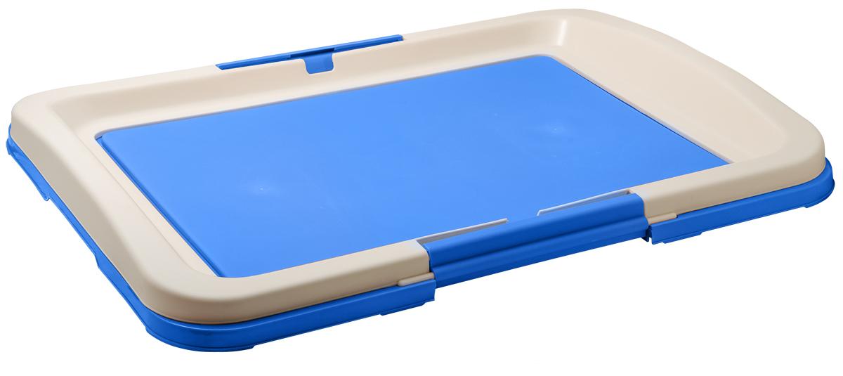Туалет для собак V.I.Pet Японский стиль, цвет: синий, молочный, 63 х 49 х 6 см0120710Туалет для собак V.I.Pet Японский стиль, изготовленный из нетоксичного пластика, предназначен для собак и щенков. Гигиеническая пеленка помещается под решетку, которая удерживается боковыми фиксаторами.Туалет легко моется водой.