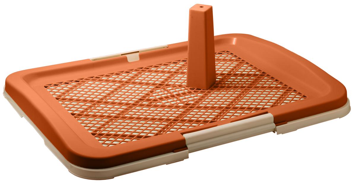 Туалет для собак V.I.Pet Японский стиль, со столбиком, цвет: коричневый, молочный, 63 см х 49 см х 6 смP160-02Туалет для собак V.I.Pet Японский стиль, изготовленный из нетоксичного пластика, предназначен для собак и щенков. Съёмный столбик легко крепится на решетку и позволяет применять туалет независимо от пола собаки. Гигиеническая пелёнка помещается под решетку, которая удерживается боковыми фиксаторами. Туалет легко моется водой.