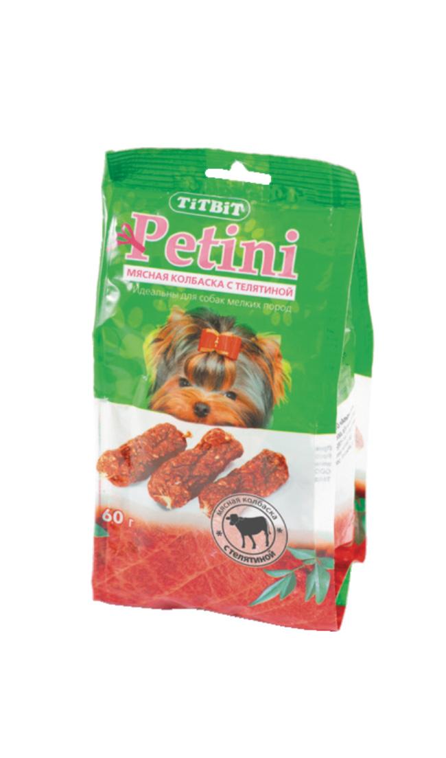 """Лакомство для собак Titbit """"Petini"""", колбаски, с телятиной, 60 г 2643"""
