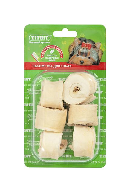 Лакомство для собак Titbit, роллы из кожи с начинкой, 6 шт0120710Высушенная говяжья кожа с начинкой из кишок говяжьих.Благодаря большому содержанию аминокислот и коллагена положительно воздействует на хрящевую ткань, состояние кожи и шерсти собаки. Кишки возбуждают аппетит и придают лакомству особый вкус, который так нравится собаке. Благодаря волокнистой структуре являются своеобразной зубной щёткой, способствующей укреплению дёсен, удалениюзубного налёта и профилактике образования зубного камня.Состав: Высушенные говяжья кожа, кишки говяжьи.