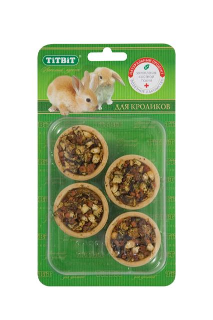 """Лакомство для кроликов """"Titbit"""", тарталетки с кабачком и морковью, 4 шт 653"""