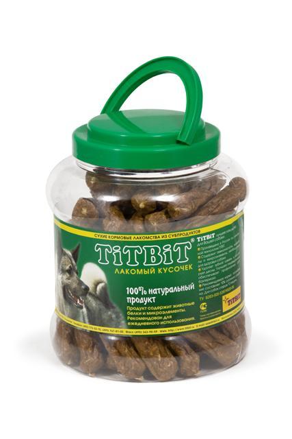 Лакомство для собак Titbit Шпикачки, 4,3 л6532Лакомство для собак Titbit Шпикачки изготовлены из говяжьего мяса и мясных субпродуктов по колбасной технологии с добавлением зерновых. Натуральный продукт, который не содержит красителей и консервантов. Состав: мясо и мясные субпродукты (более 85%), кукуруза, минеральные вещества.