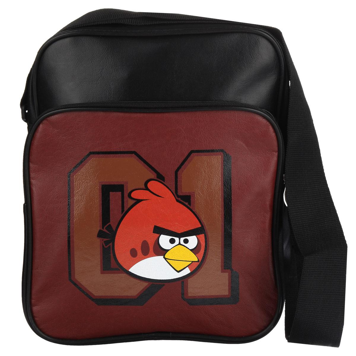 Сумка Angry Birds Красная птица, цвет: черный, бордовый. 8481384813Сумка молодёжная Angry Birds Красная птица сочетает в себе современный дизайн, функциональность и долговечность. Сумка выполнена из кожзаменителя и содержит одно вместительное отделение, застегивающееся на застежку-молнию. Внутри имеется дополнительный карман-разделитель на молнии. На лицевой стороне сумки находятся карман на застежке-молнии. Внутри имеется нашивной карман и фиксаторы для пишущих принадлежностей. На задней стороне сумка имеет дополнительный карман на молнии. Сумка оснащена плечевым ремнем, регулируемой длины.