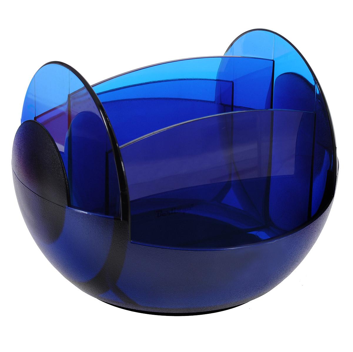 Настольная подставка вращающаяся Berlingo, цвет синийMOn00062Настольная подставка вращающаяся Berlingo незаменимый атрибут рабочего стола. Она выполнена из высококачественного пластика и содержит два отделения для пишущих принадлежностей и еще четыре отделения для различных других канцелярских приборов: линеек, ластиков, блоков для заметок. Подставка оснащена вращающимся механизмом на 360 градусов, благодаря которому вы сможете с легкостью взять нужный предмет. Такая настольная подставка призвана не только сохранить письменные принадлежности в порядке, но и разнообразить привычную обстановку рабочего стола.