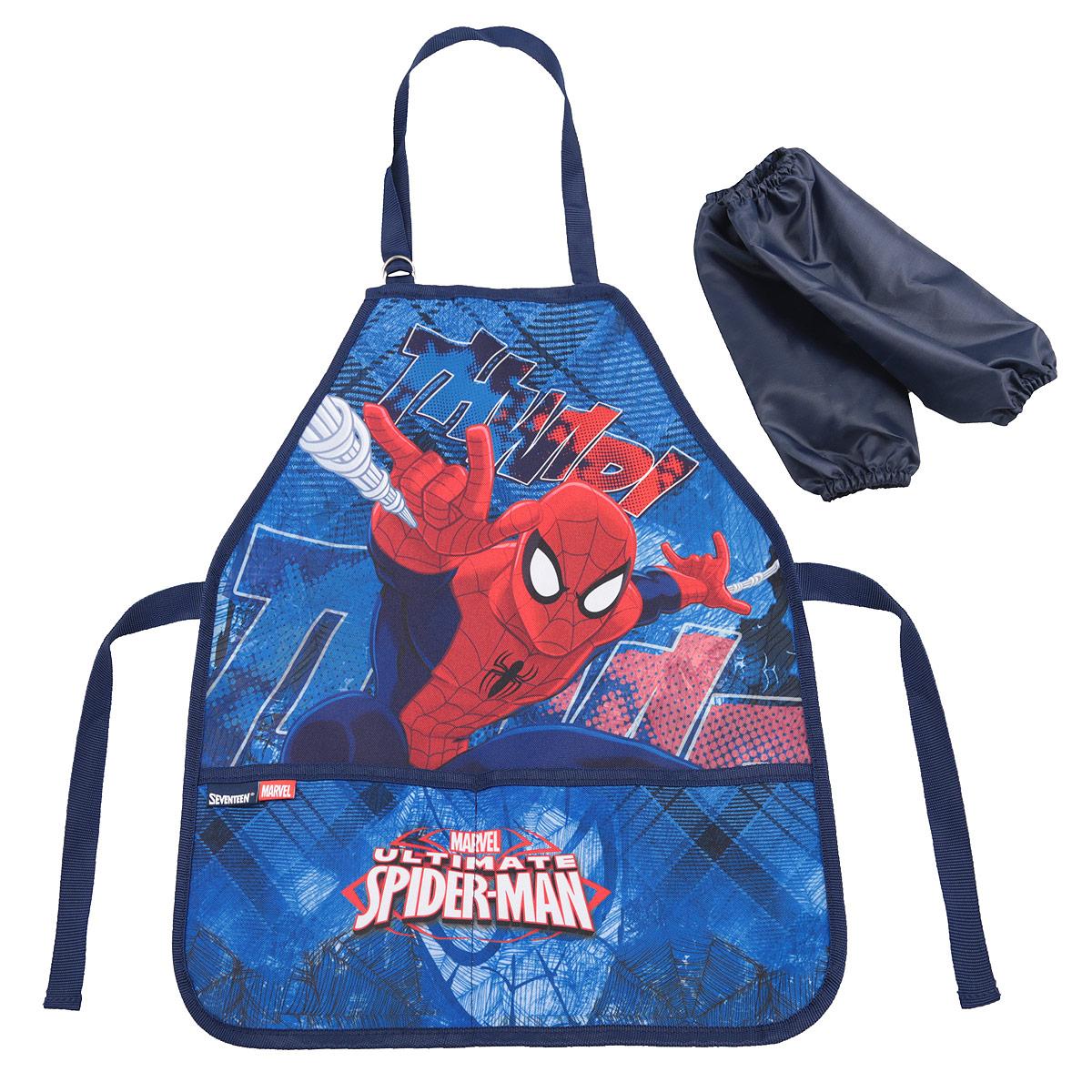 Фартук для труда Spider-man Classic, с нарукавниками, цвет: синий, красныйSMCB-RT2-2900Фартук для труда Spider-man Classic, с нарукавниками поможет малышу не испачкаться во время домашних хлопот, на уроках труда или изобразительного искусства. Благодаря удобному покрою фартука, ребенок может его самостоятельно надевать и снимать. Завязки позволяют зафиксировать фартук на талии и на шее. Ремень, предназначенный для фиксации на шее, имеет металлические приспособления для регулировки длины. Спереди расположены два вместительных кармана, в которые можно положить необходимые для работы предметы. К фартуку прилагаются два нарукавника из плащевой ткани, они фиксируются резинками сверху и снизу. Изделие изготовлено из легкостирающейся, износостойкой ткани, поэтому будет служить очень долго.