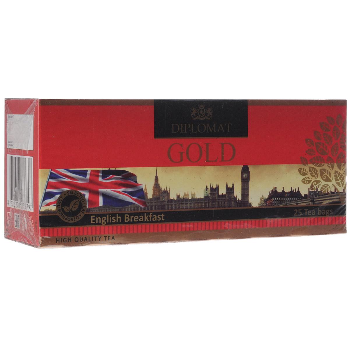 Diplomat English Breakfast черный чай в пакетиках, 25 шт.4623721273797За чашкой этого чая, ощущения перенесут Вас в старую добрую Англию, окунув в атмосферу неторопливой светской беседы английской аристократии. Яркий рубиновый прозрачный настой, аромат приятный с цветочно-медовыми нотками, вкус нежный, сладковато-терпкий.