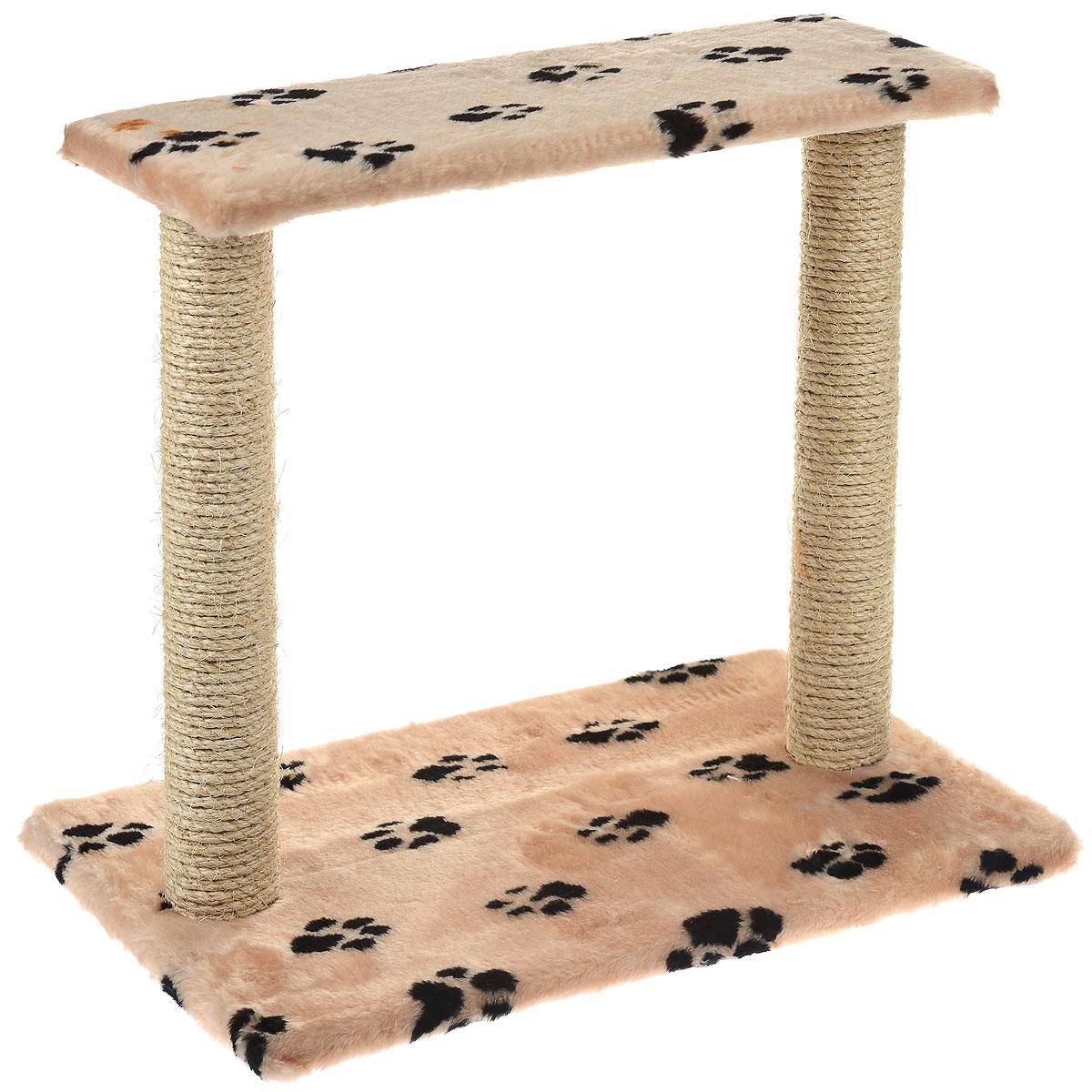Когтеточка Пушок Двойная, сизаль, цвет: бежевый, 62 см х 55 см х 38 см4640000933043_бежевый со следамиКогтеточка Пушок Двойная поможет сохранить мебель и ковры в доме от когтей вашего любимца, стремящегося удовлетворить свою естественную потребность точить когти. Когтеточка изготовлена из сизаля, прямоугольное основание выполнено из ДСП и обтянуто плюшем. Когтеточка декорирована изображением черных следов. Сверху два столба-когтеточки соединены площадкой. Товар продуман в мельчайших деталях и, несомненно, понравится вашей кошке. Всем кошкам необходимо стачивать когти. Когтеточка - один из самых необходимых аксессуаров для кошки. Для приучения к когтеточке можно натереть ее сухой валерьянкой или кошачьей мятой. Когтеточка поможет вашему любимцу стачивать когти и при этом не портить вашу мебель.