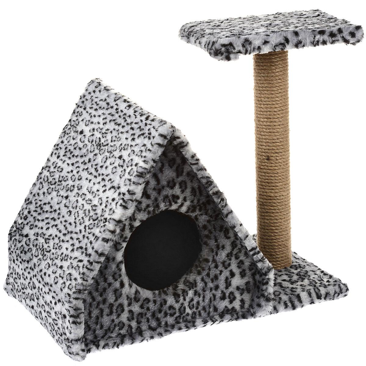 """Домик для кошек Пушок """"Избушка"""", с когтеточкой, цвет: серый леопард, 43 см х 40 см х 41 см 4640000931063_серый леопард"""