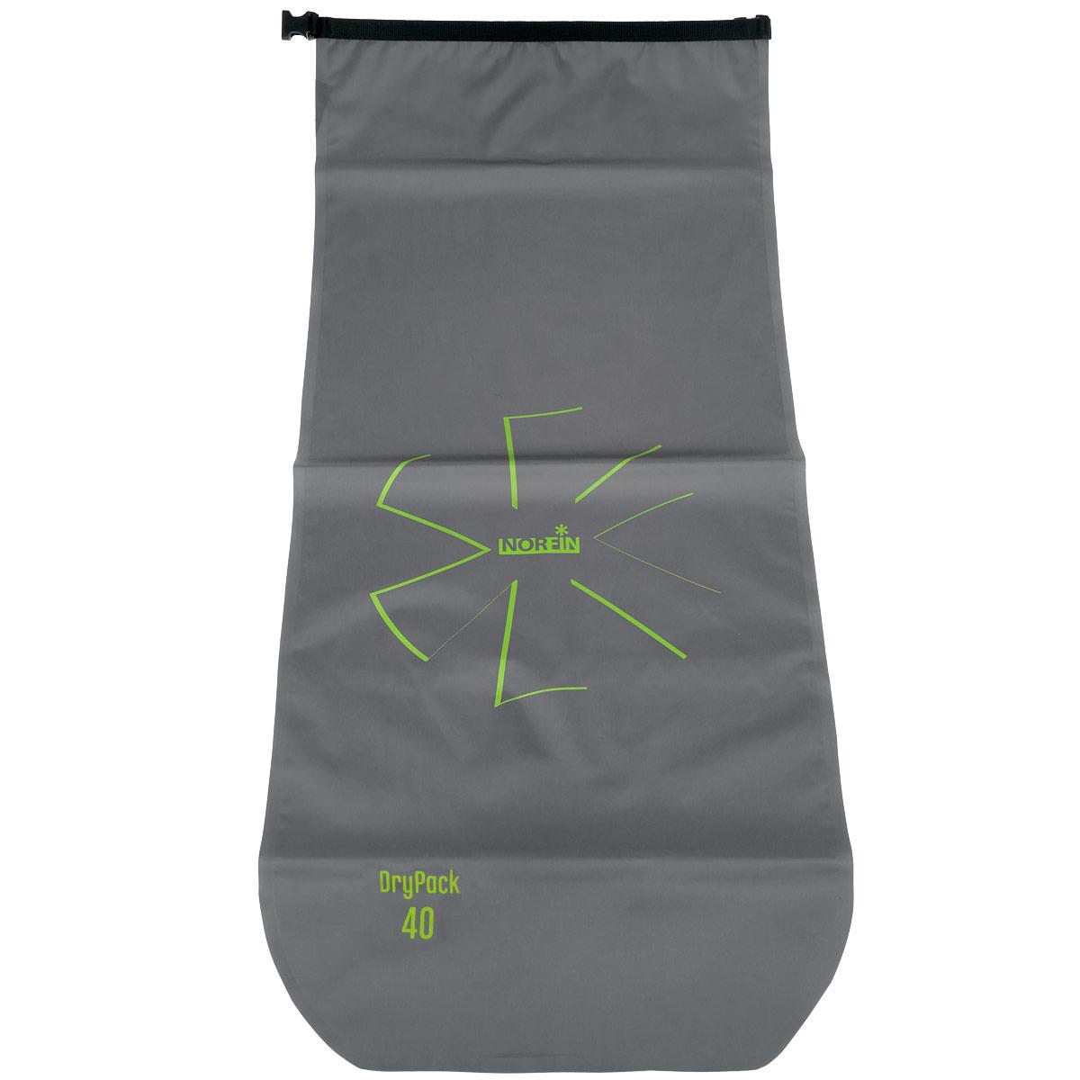Гермомешок Norfin Dry Pack, цвет: серый, 40 лNF-40304Благодаря исключительным свойствам материала и своей конструкции Norfin Dry Pack позволяет надежно защитить ваши вещи и документы от попадания влаги. Удобный скручивающийся верх обеспечивает герметичность. Гермомешок имеет воздушный клапан для выпуска из мешка воздуха и уменьшения объема. Мешок плоский в сжатом виде.
